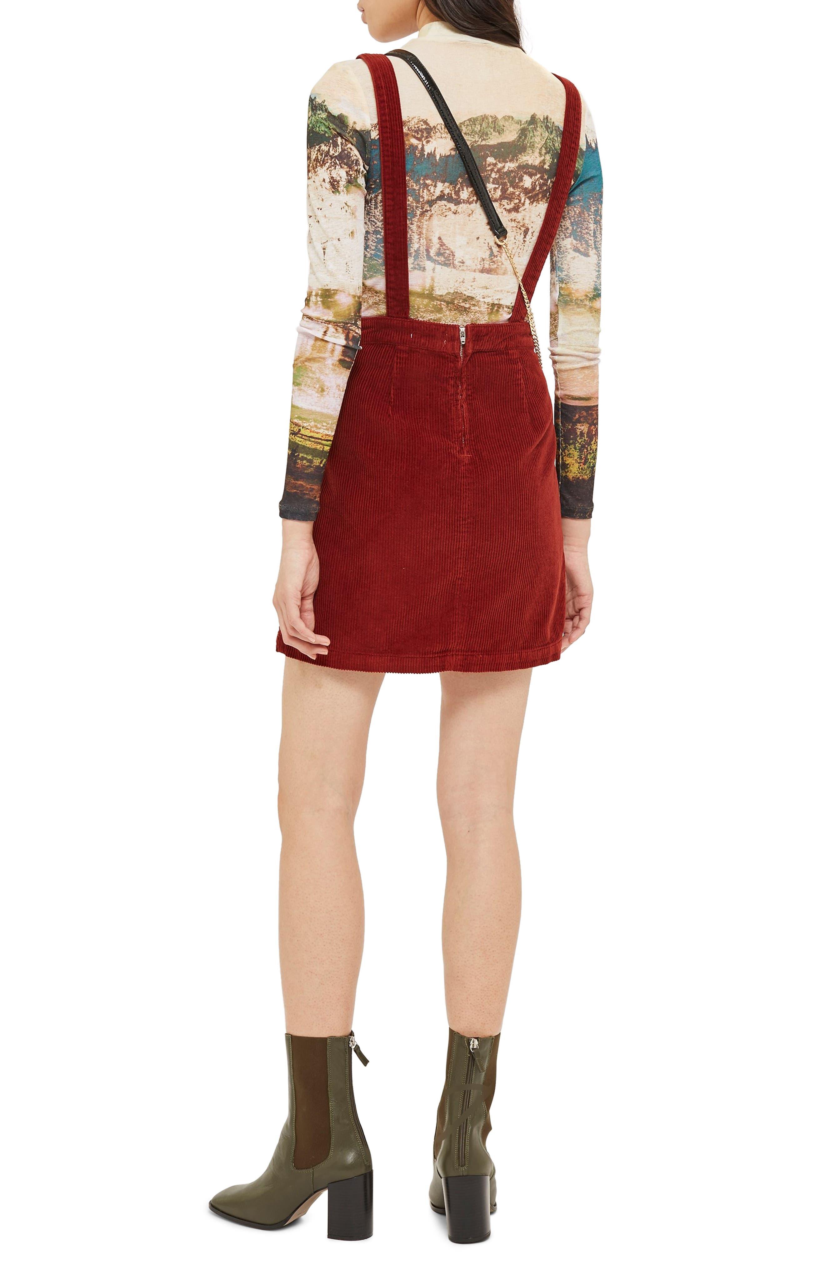 TOPSHOP,                             Horn Button Corduroy Pinafore Dress,                             Alternate thumbnail 2, color,                             RUST