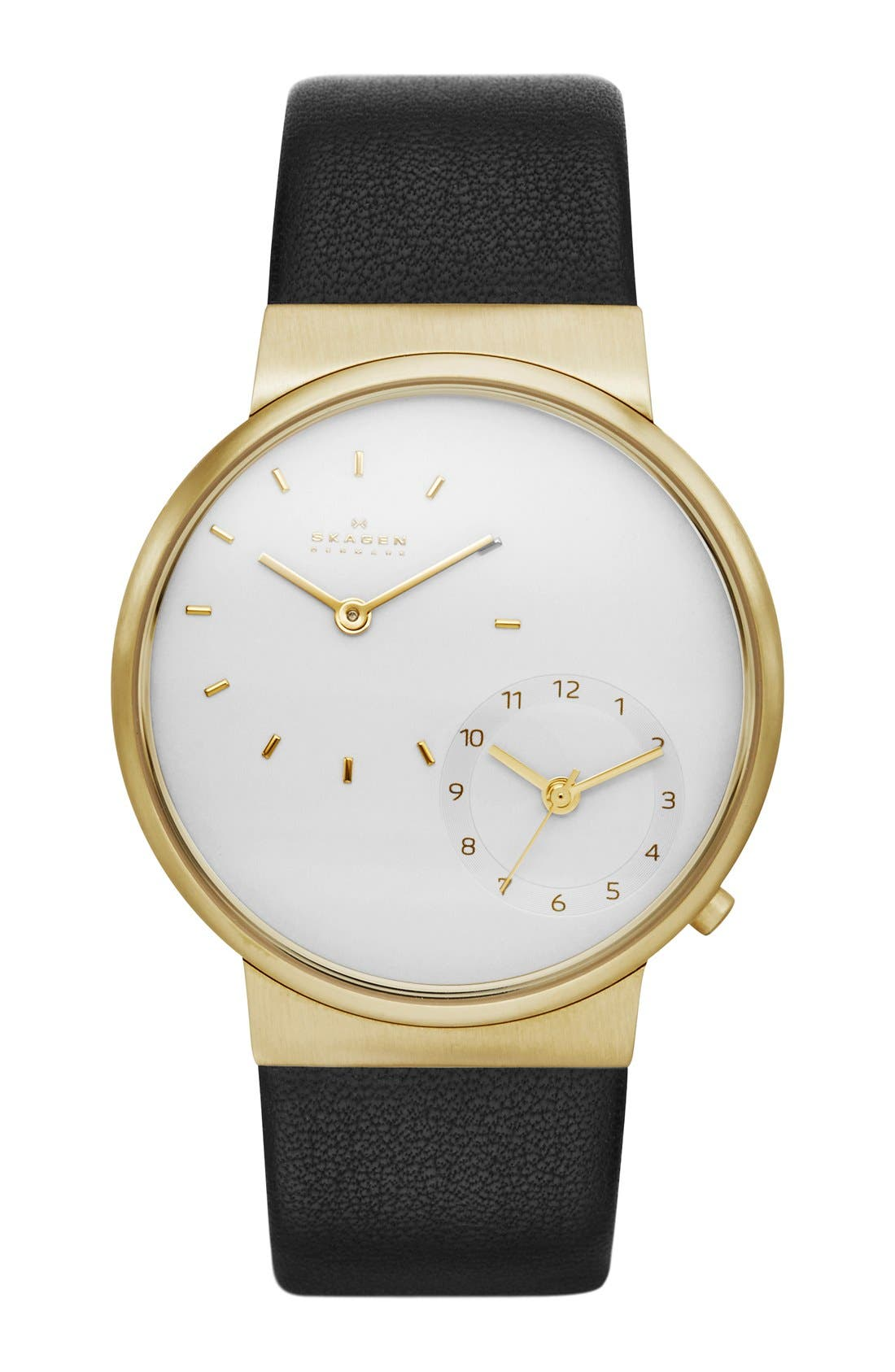 'Ancher' Dual Time Leather Strap Watch, 40mm,                             Main thumbnail 1, color,                             001