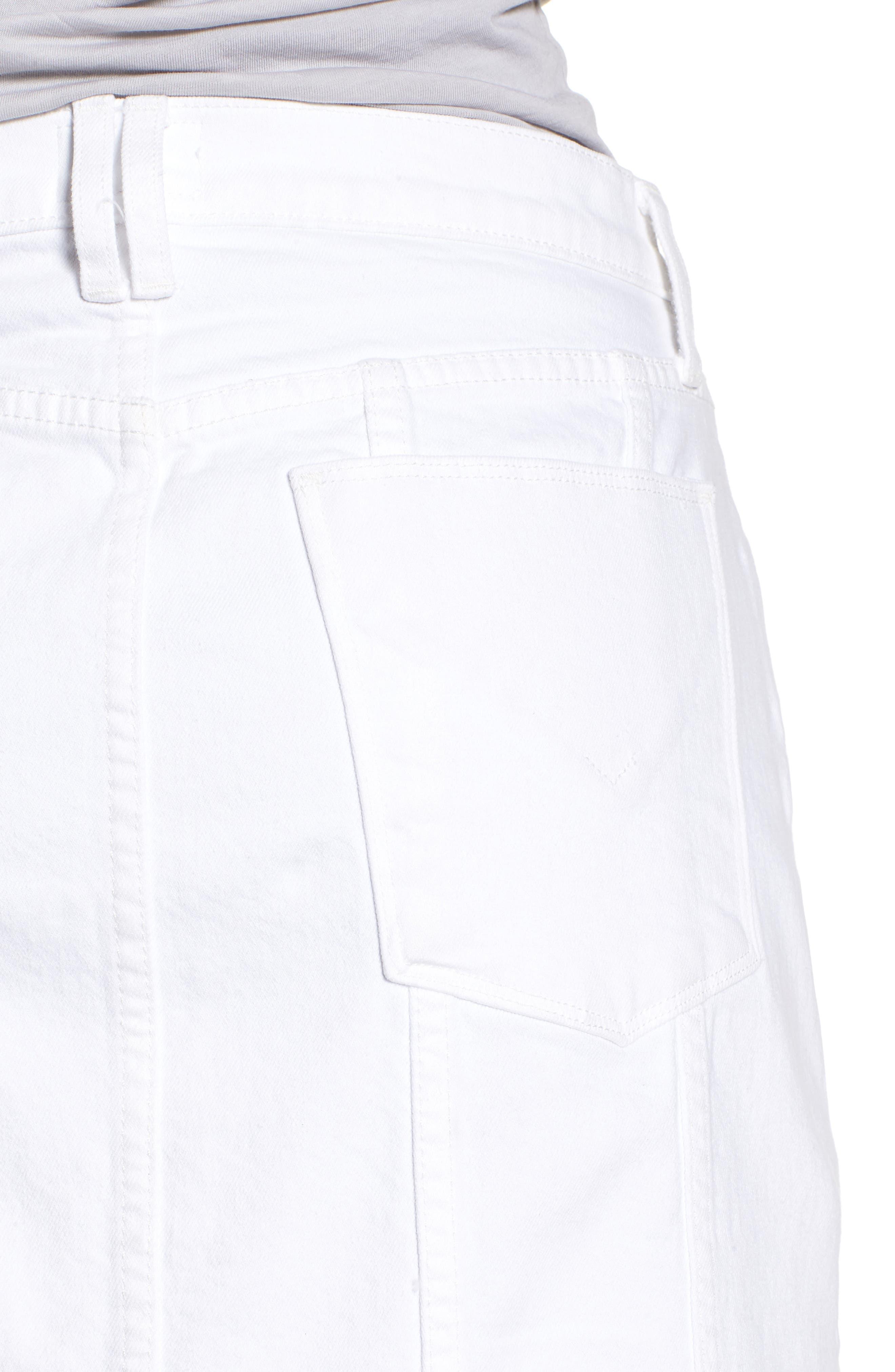 Raw Step Hem Denim Skirt,                             Alternate thumbnail 4, color,                             120