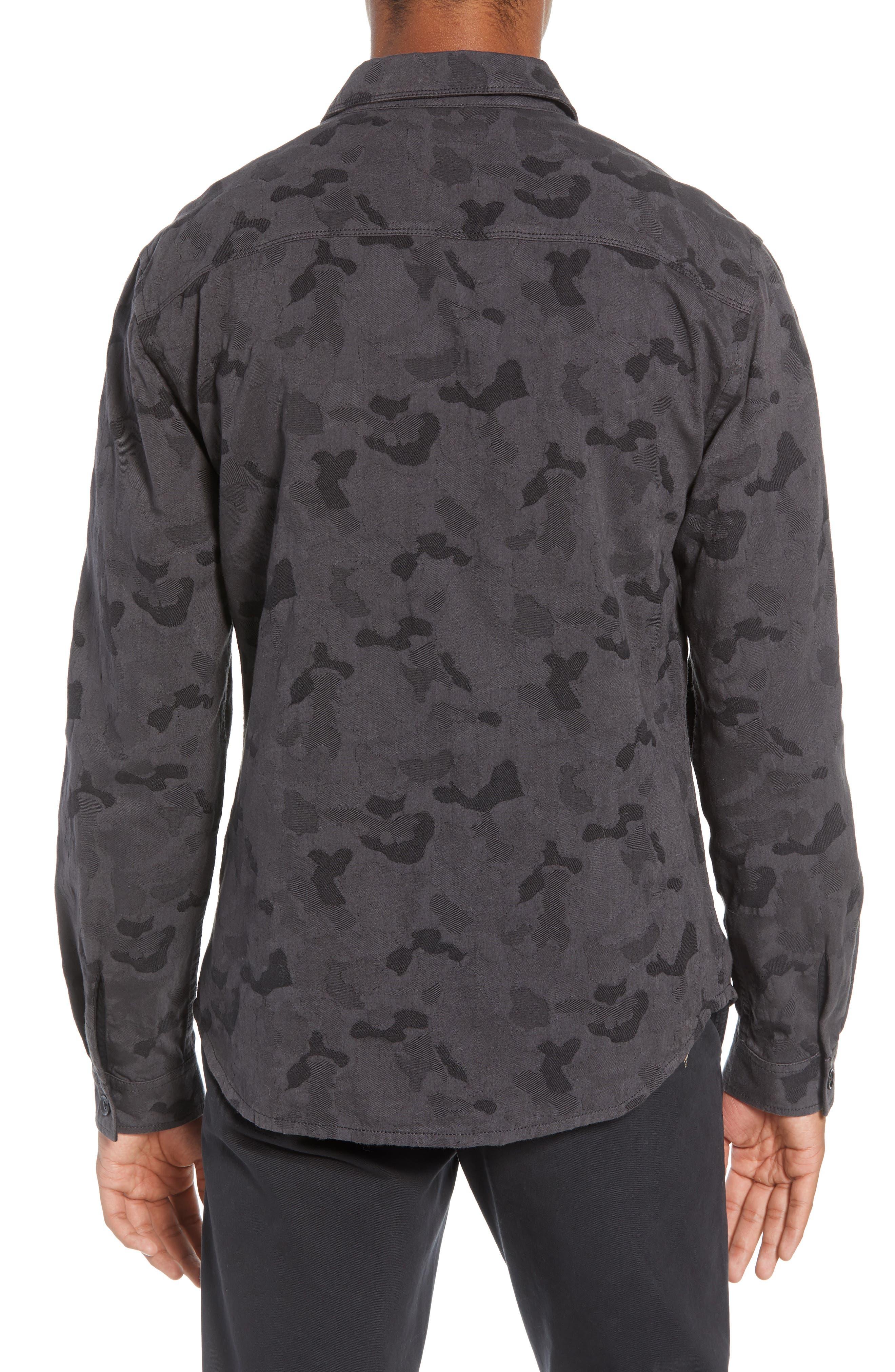 Camouflage Slim Cotton Jacquard Shirt Jacket,                             Alternate thumbnail 3, color,                             060