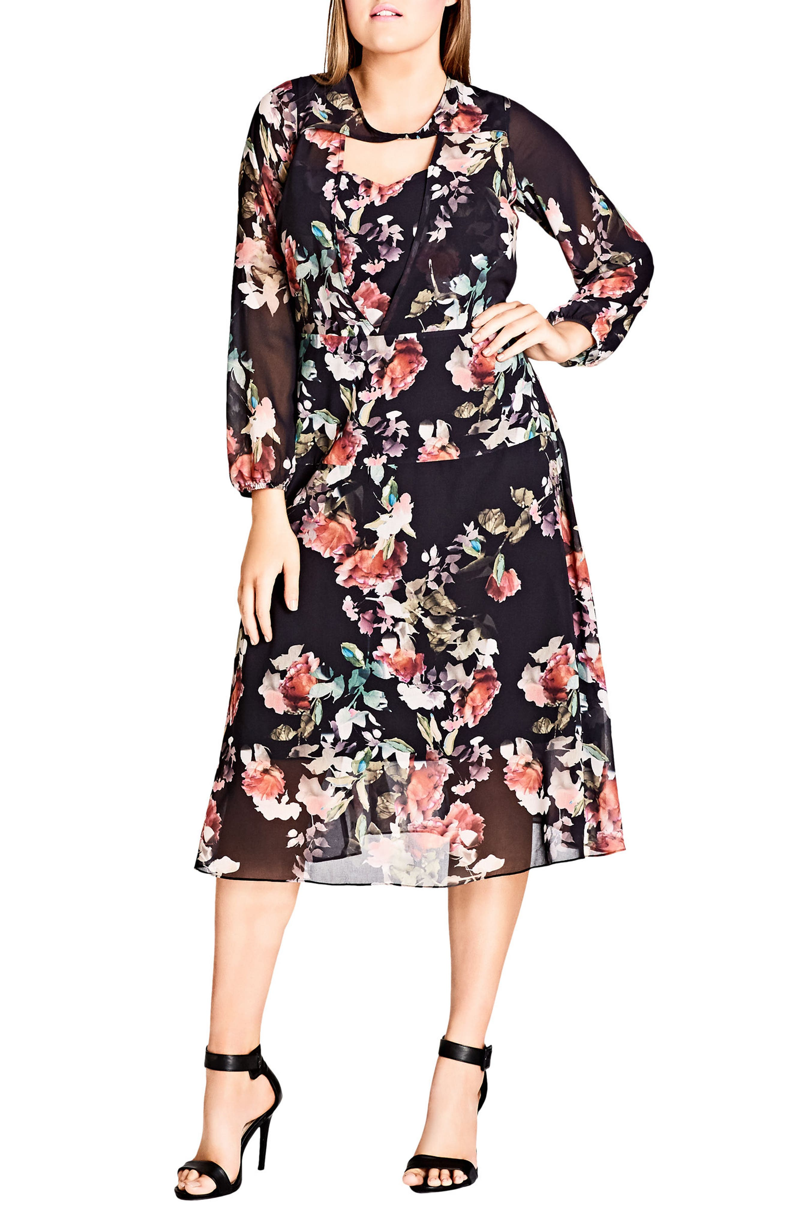 CITY CHIC,                             Sheer Divine Floral Print Midi Dress,                             Main thumbnail 1, color,                             001