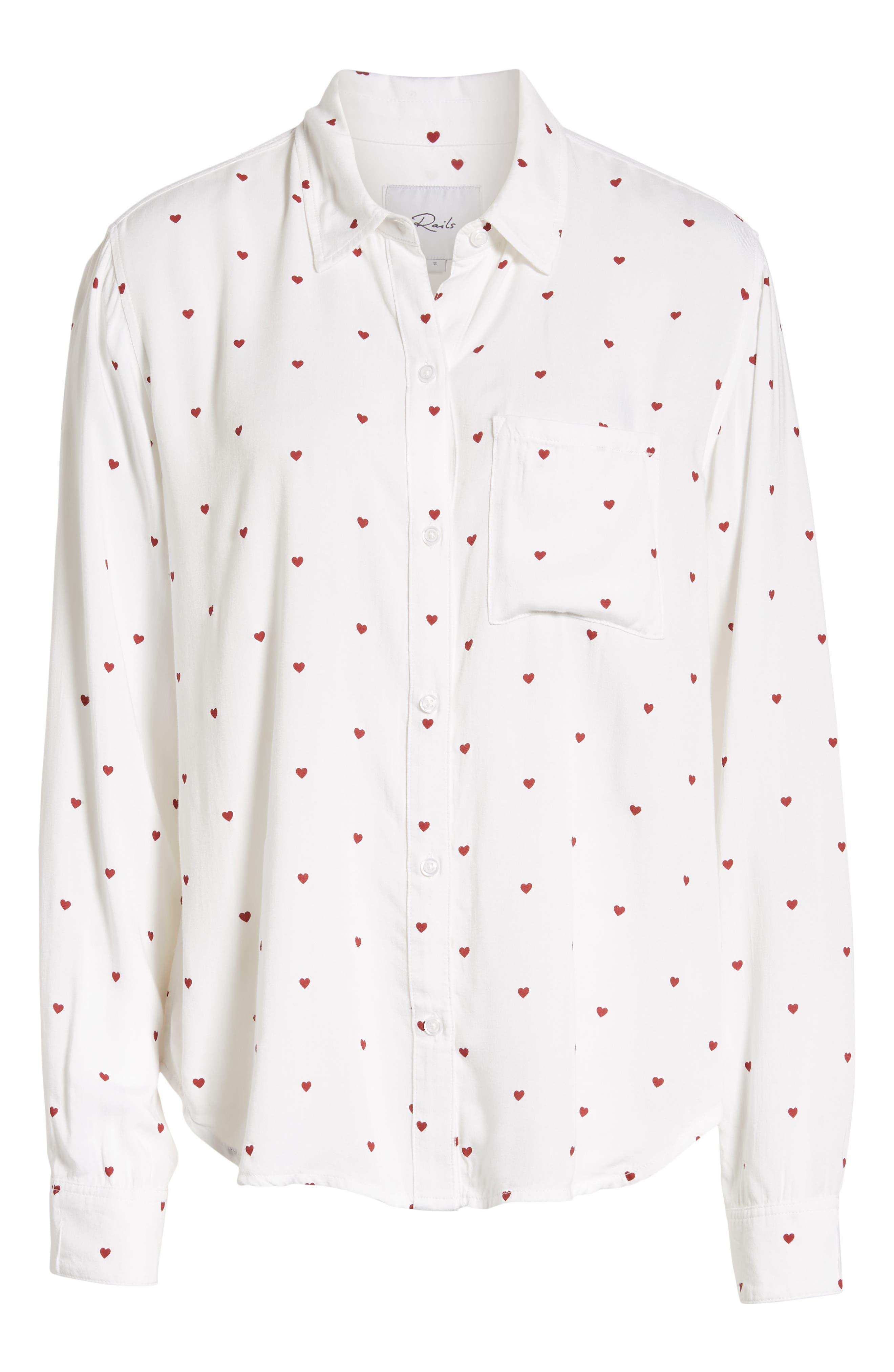 Rocsi Heart Print Shirt,                             Alternate thumbnail 6, color,                             WHITE RED HEARTS