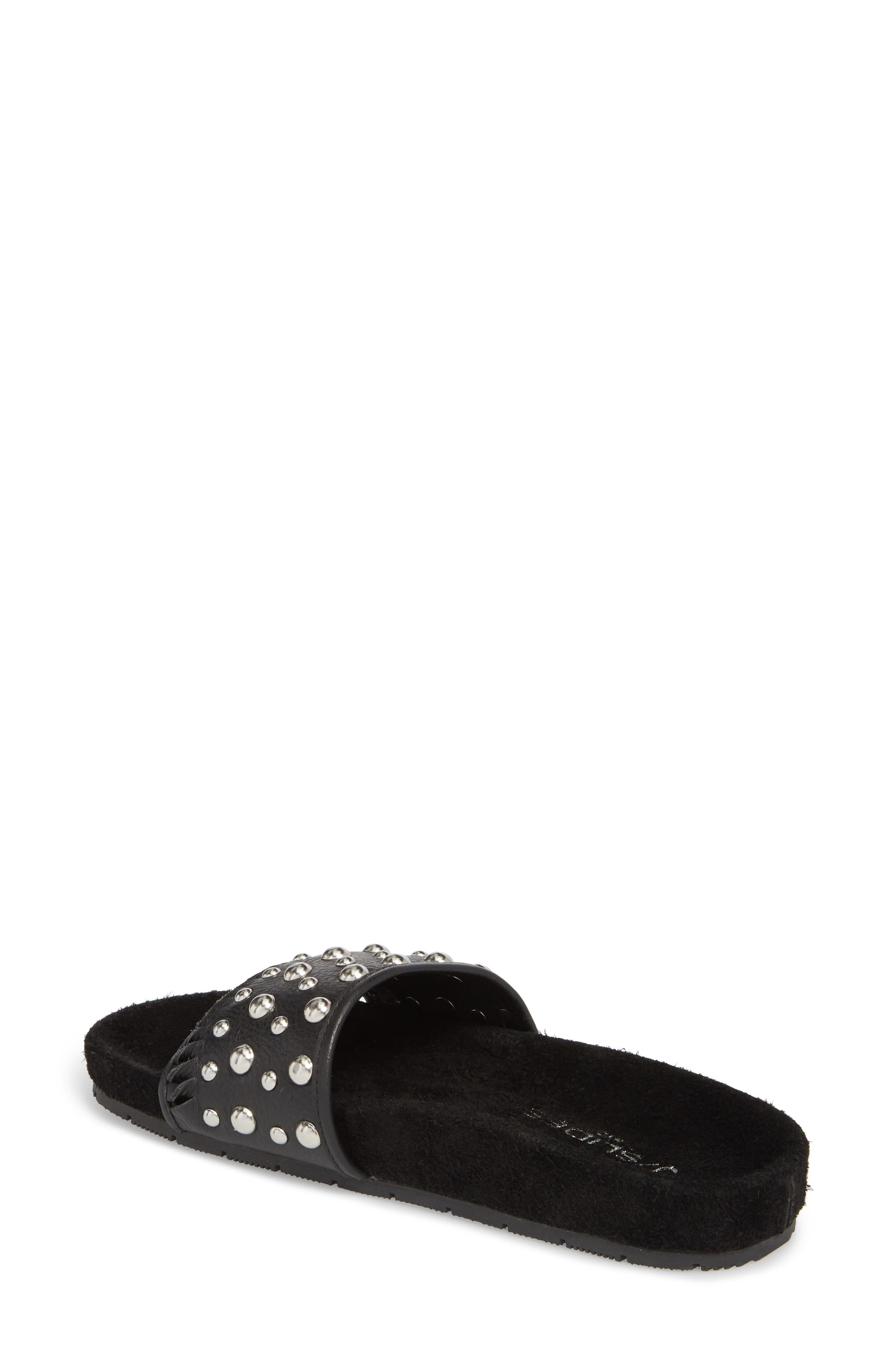 Nora Studded Slide Sandal,                             Alternate thumbnail 2, color,                             BLACK SUEDE