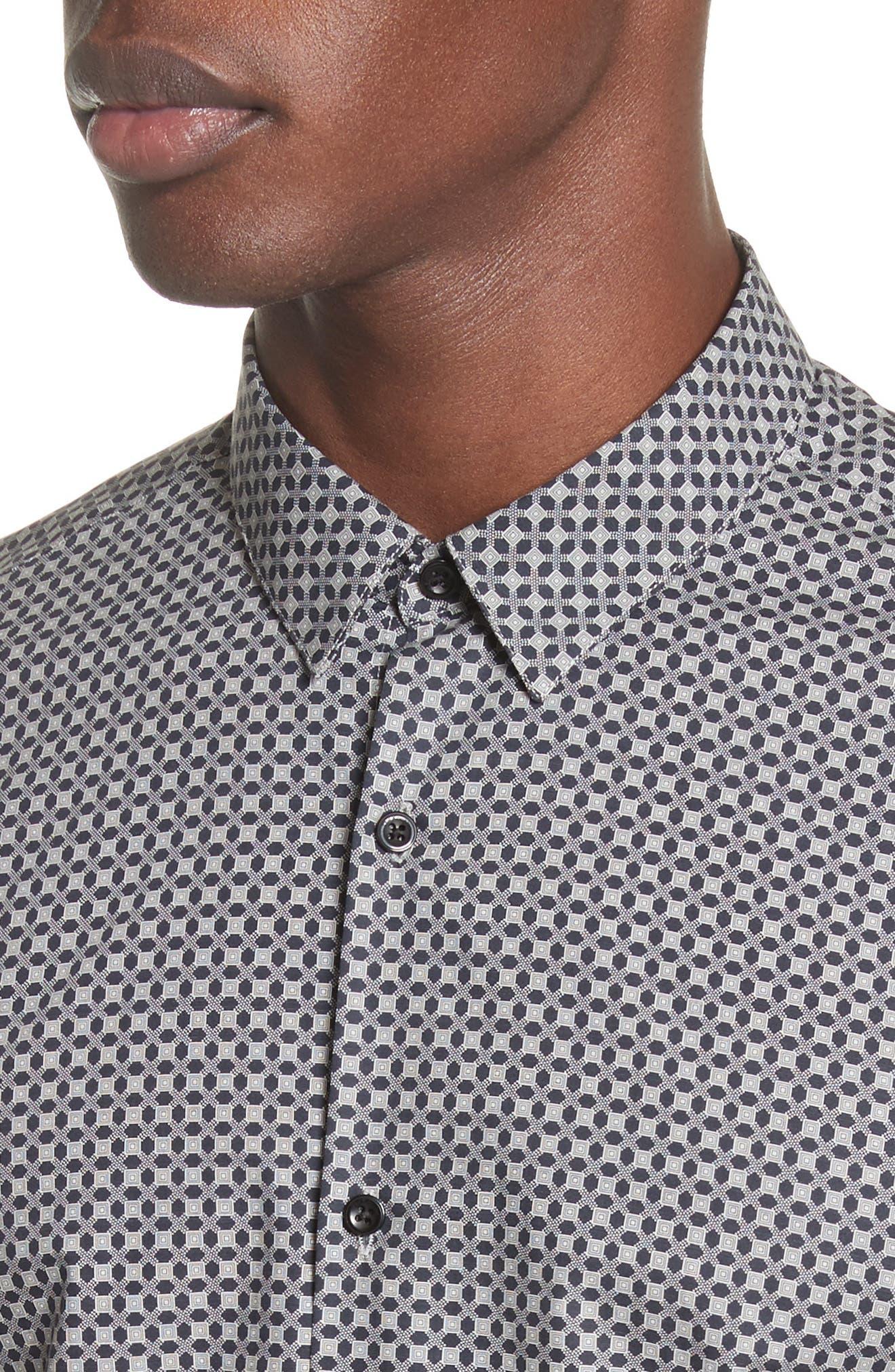 Geometric Print Woven Shirt,                             Alternate thumbnail 4, color,                             020