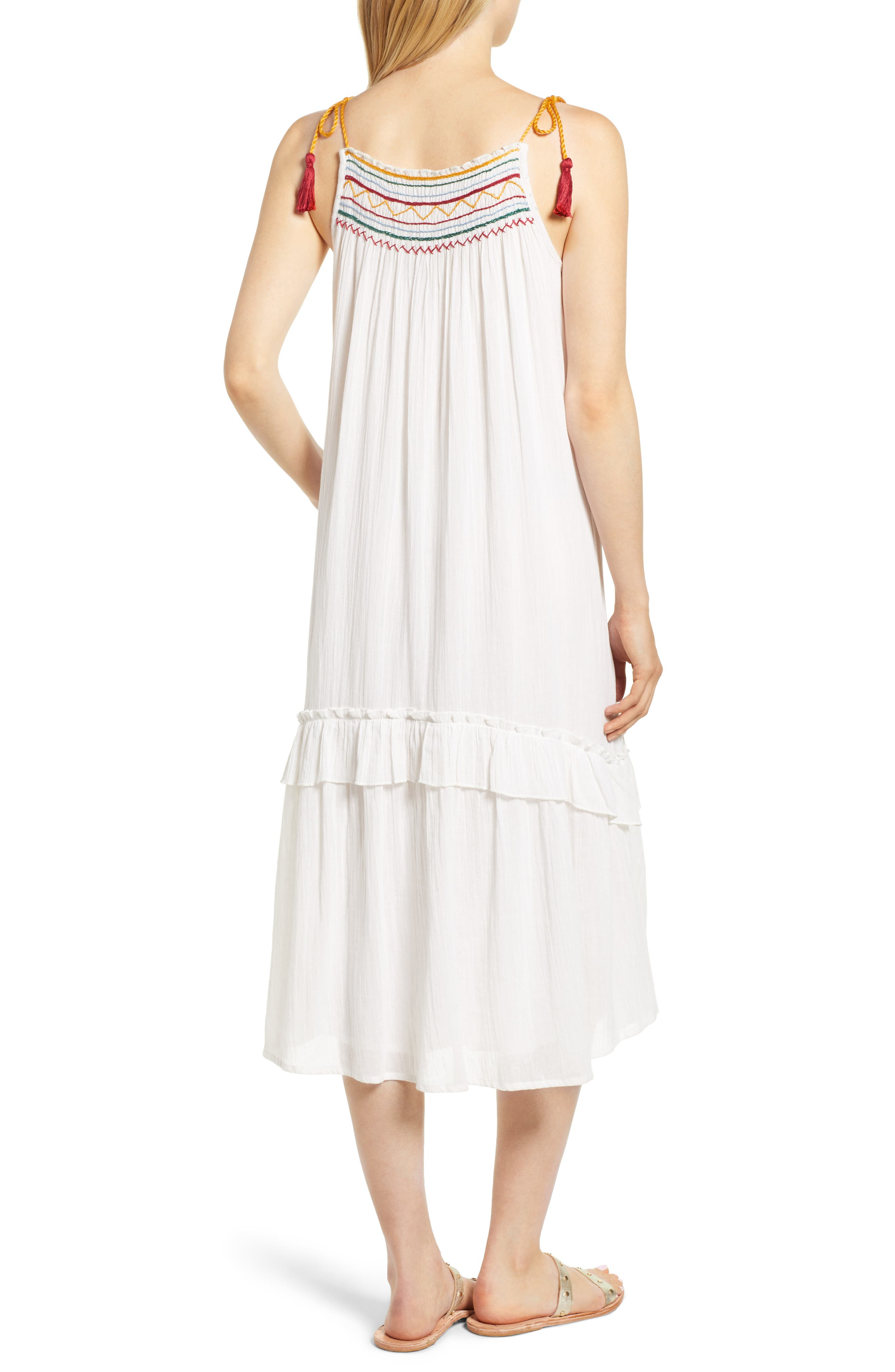 Embroidered Gauze Midi Dress,                             Alternate thumbnail 2, color,                             124