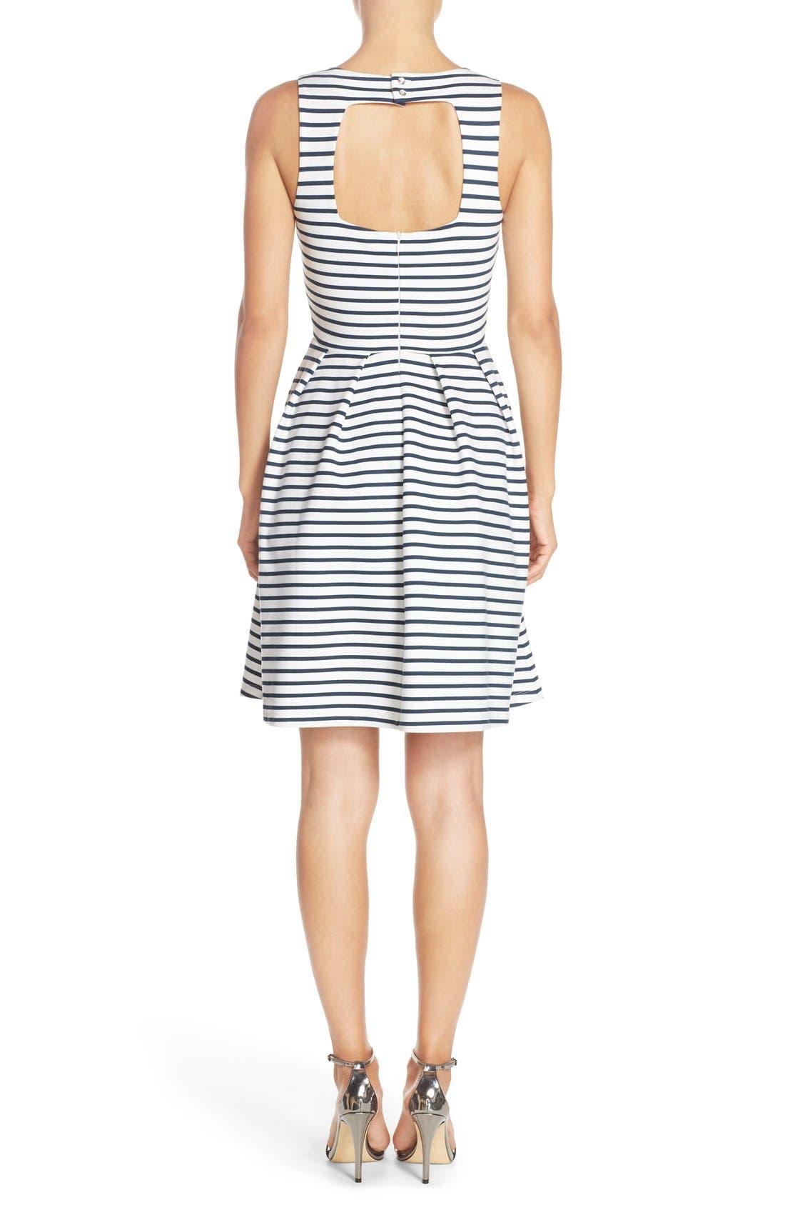 Ming Stripe Fit & Flare Dress,                             Alternate thumbnail 4, color,