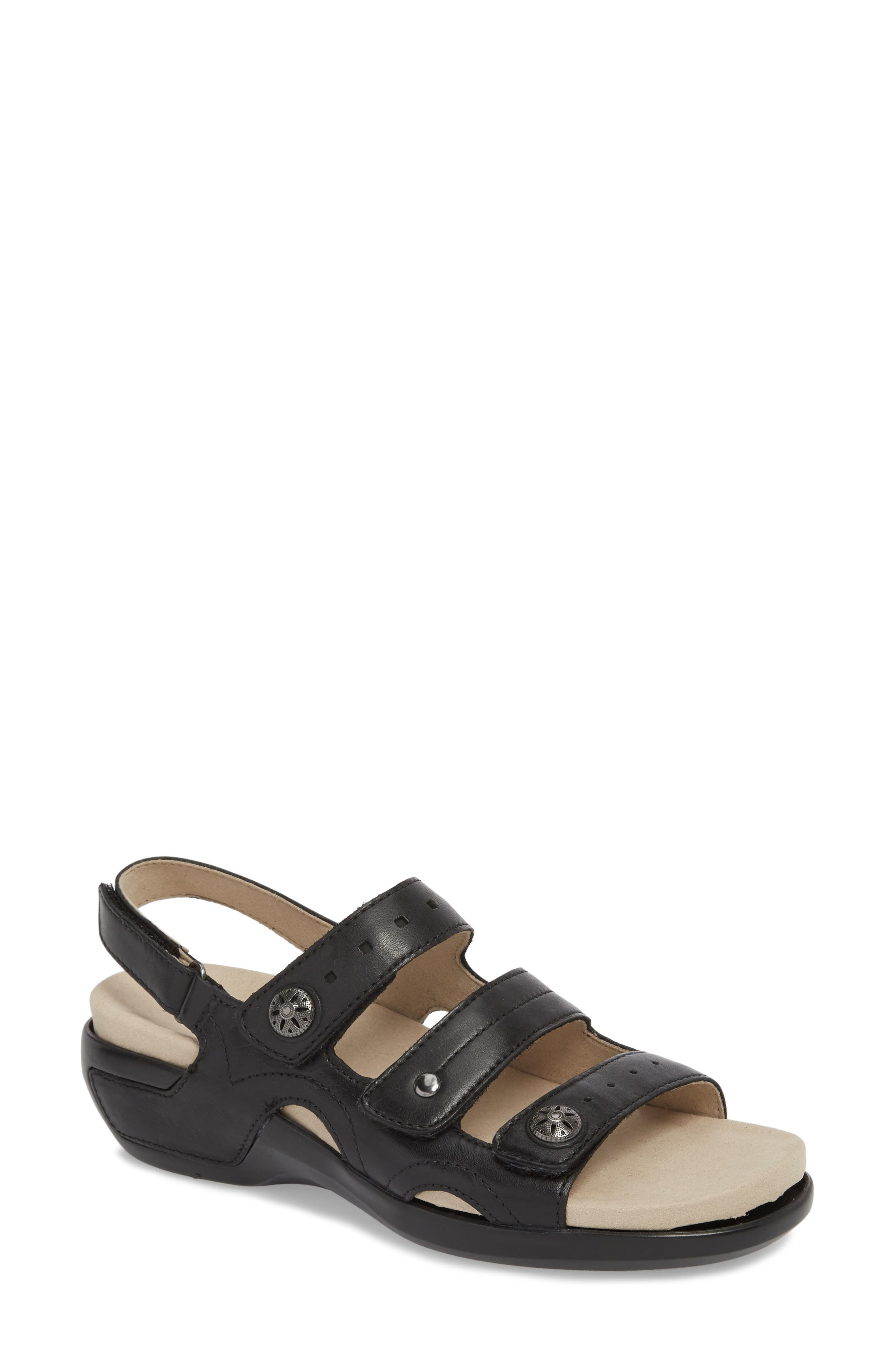 Three Strap Sandal,                         Main,                         color, BLACK LEATHER