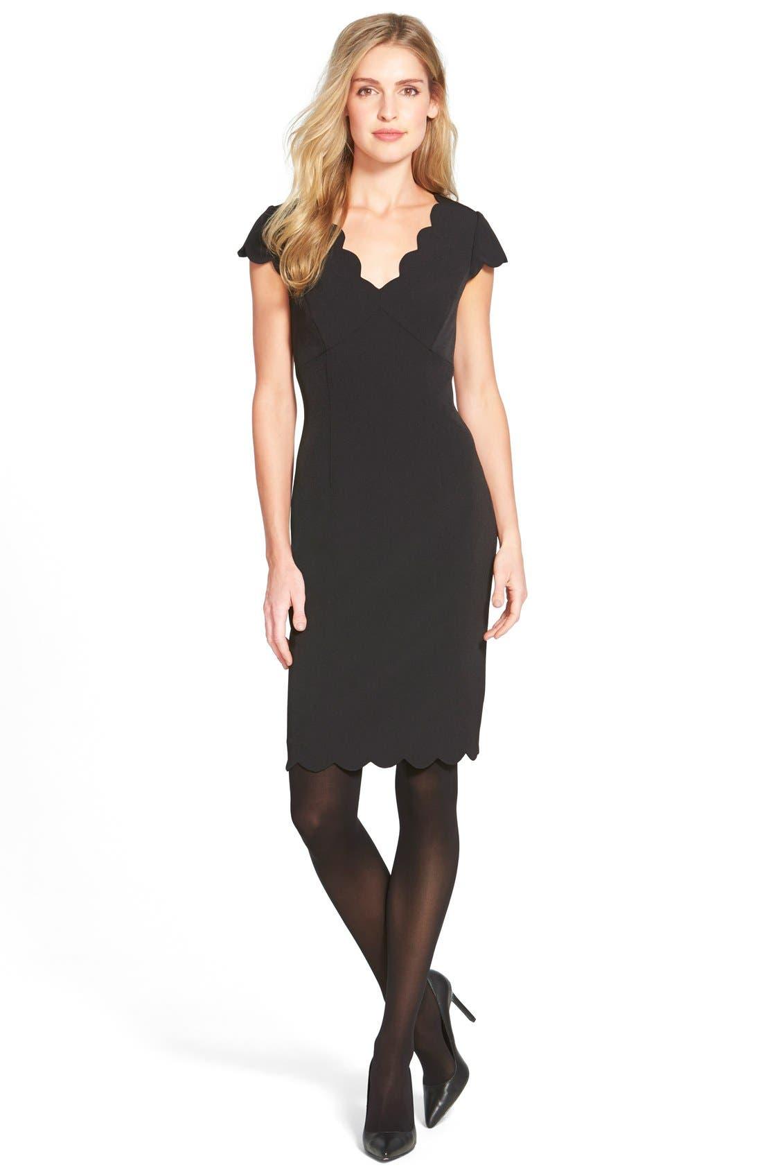 ADRIANNA PAPELL,                             Scalloped Crepe Sheath Dress,                             Alternate thumbnail 9, color,                             001
