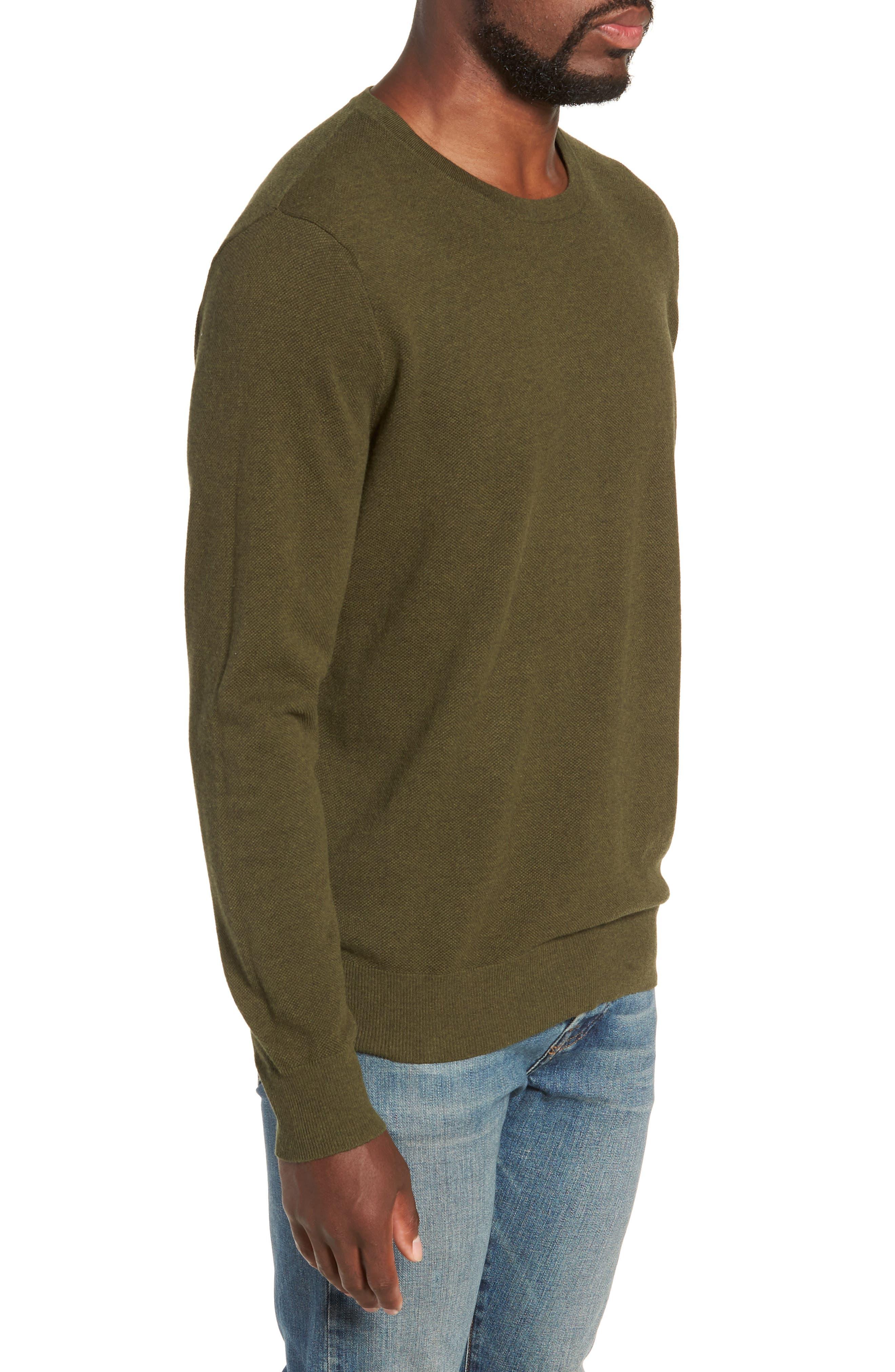 Cotton & Cashmere Piqué Crewneck Sweater,                             Alternate thumbnail 3, color,                             HEATHER OLIVE