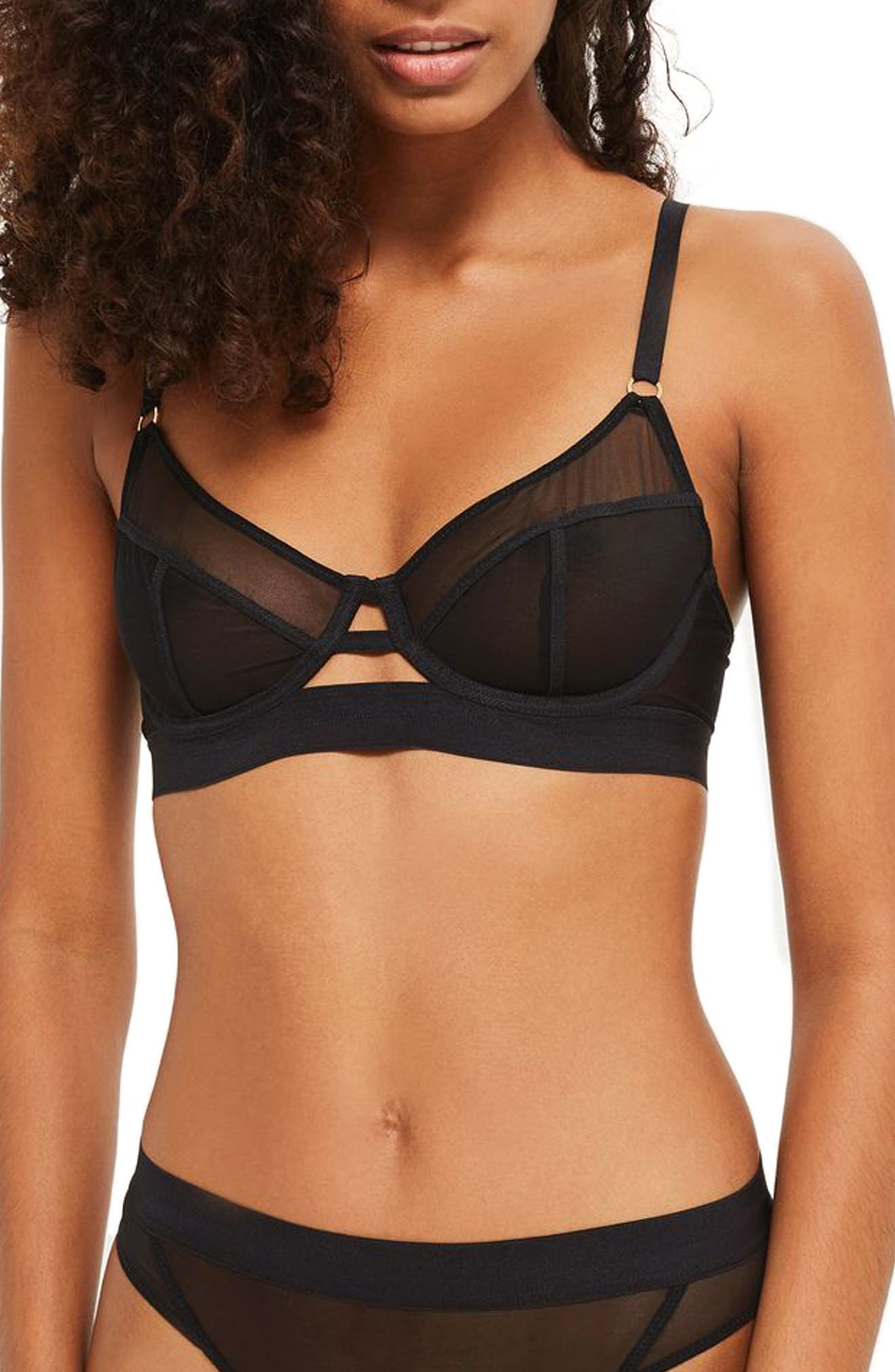 Frankie Underwire Mesh Bra,                             Main thumbnail 1, color,                             001