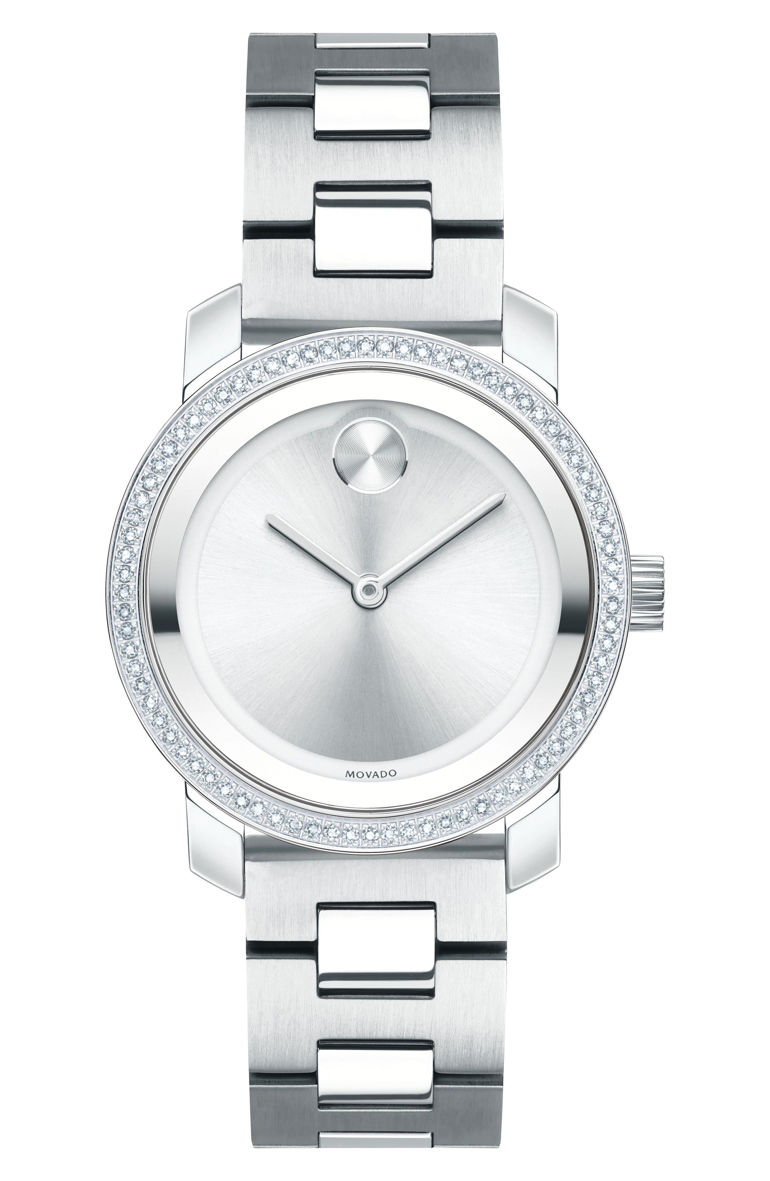 Bold Diamond Bezel Bracelet Watch,                         Main,                         color, 040