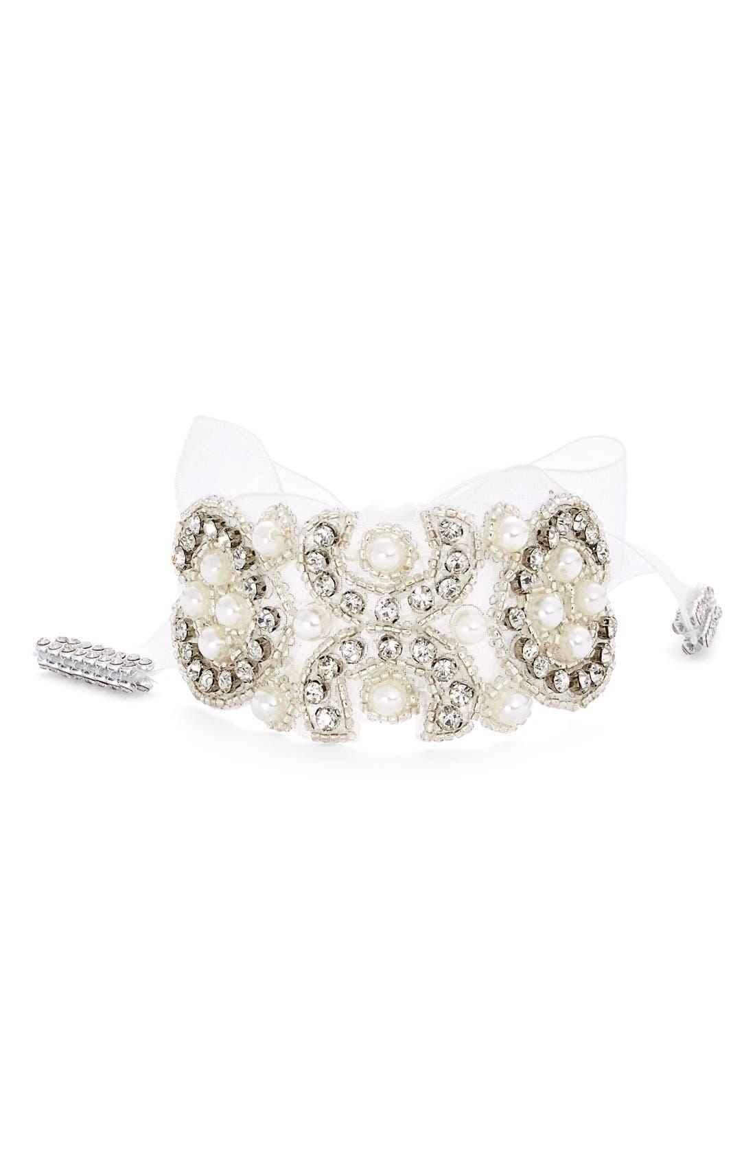 NINA Crystal & Faux Pearl Tie Bracelet, Main, color, 902