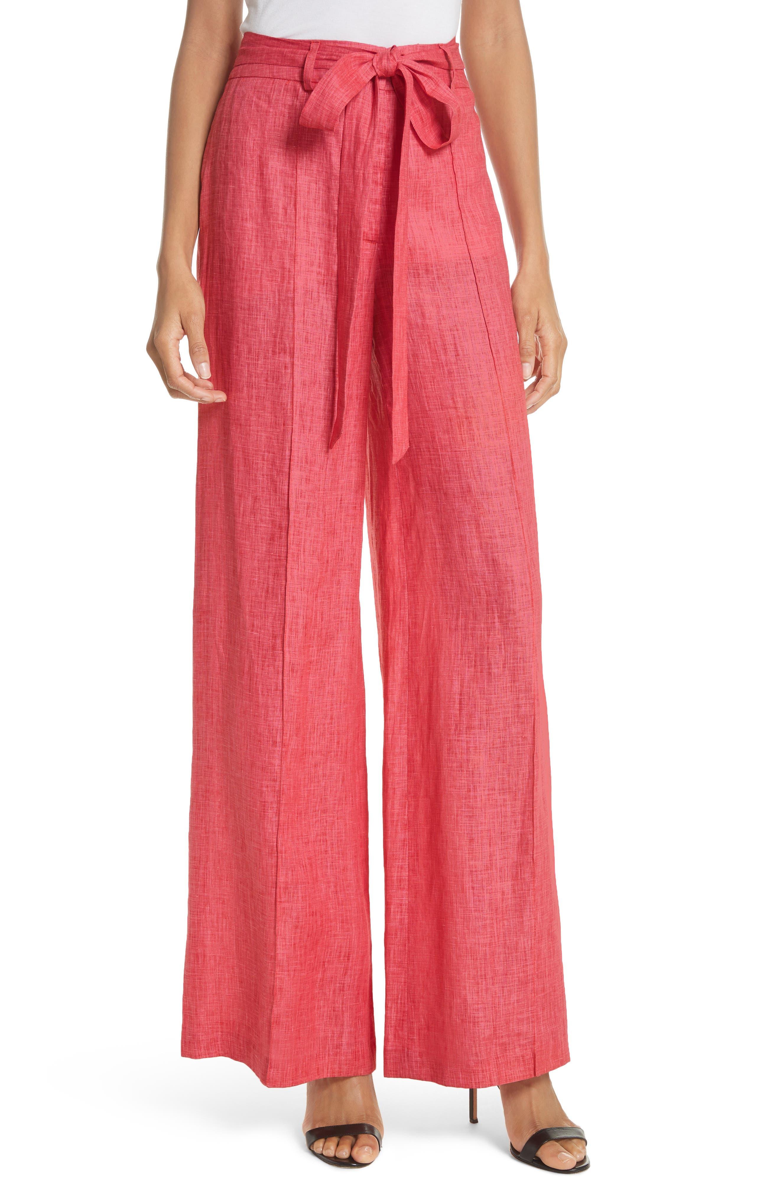 Hayden Belted Wide Leg Italian Linen Pants,                             Main thumbnail 1, color,                             POPPY