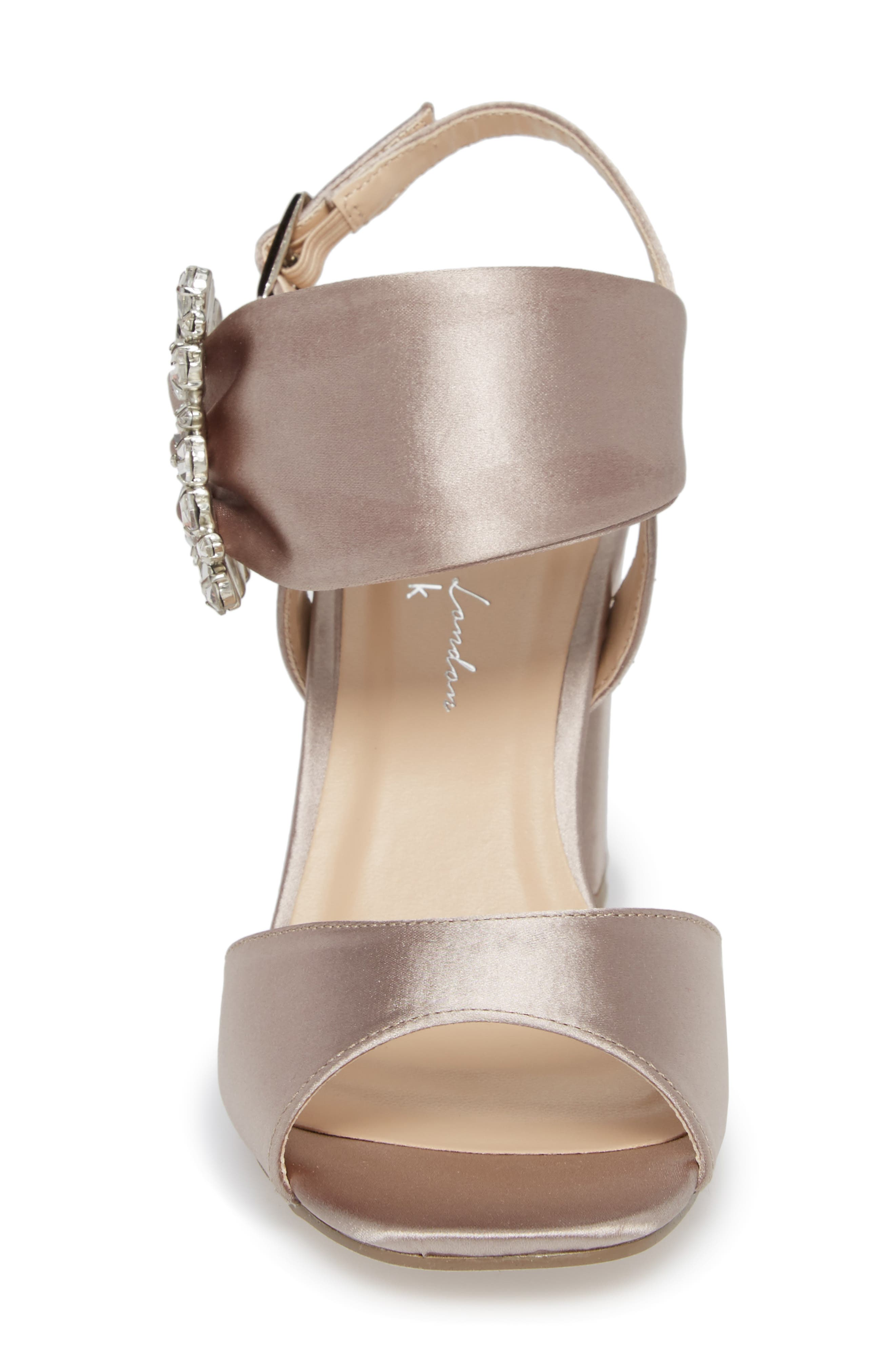 Manhattan Embellished Sandal,                             Alternate thumbnail 4, color,                             TAUPE SATIN