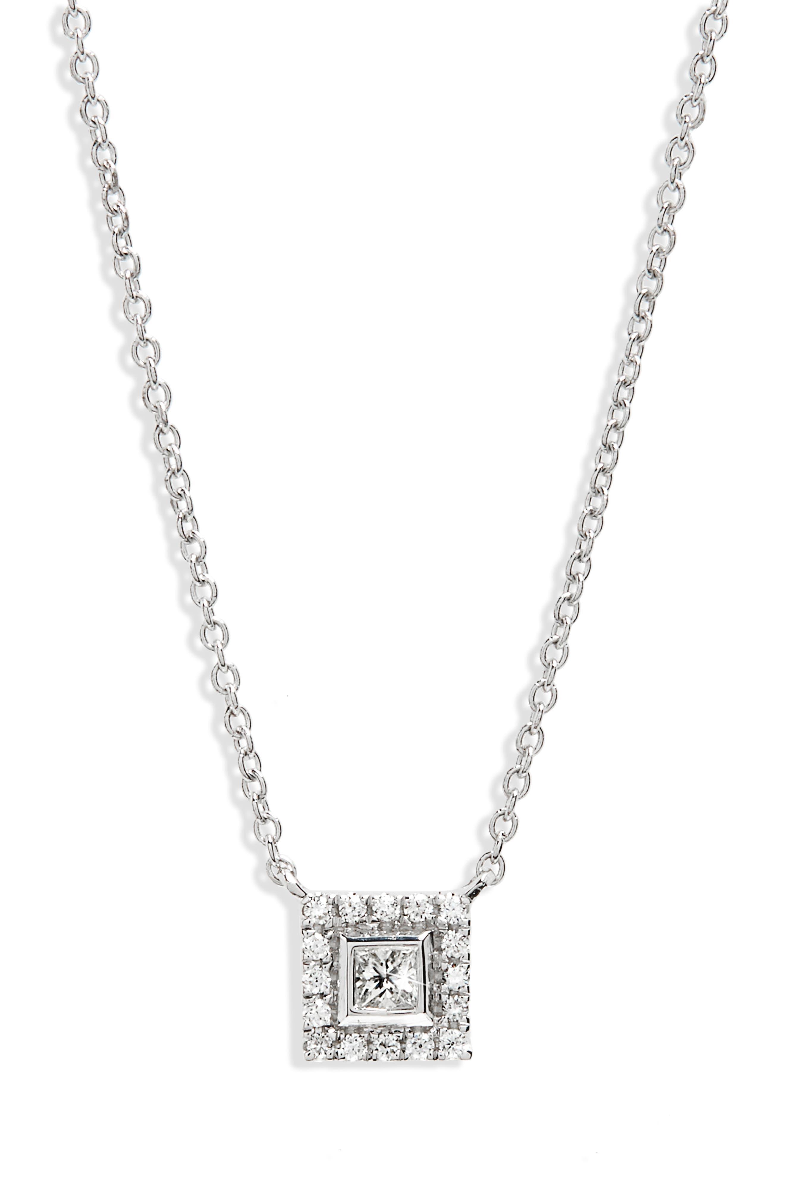 Amara Diamond Square Pendant Necklace,                             Main thumbnail 1, color,                             WHITE GOLD