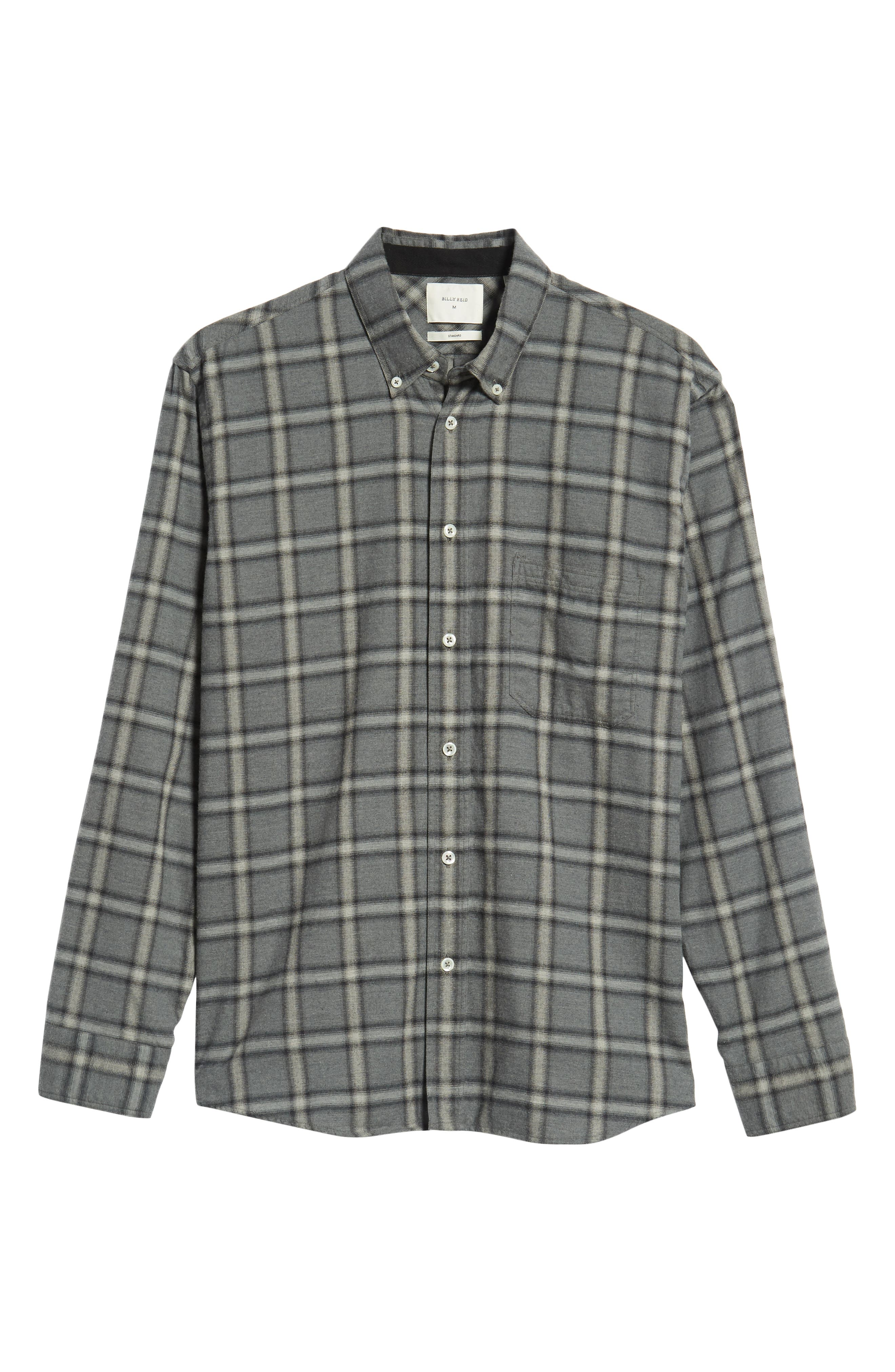 Tuscumbia Regular Fit Plaid Sport Shirt,                             Alternate thumbnail 5, color,                             BLUE/ GREY