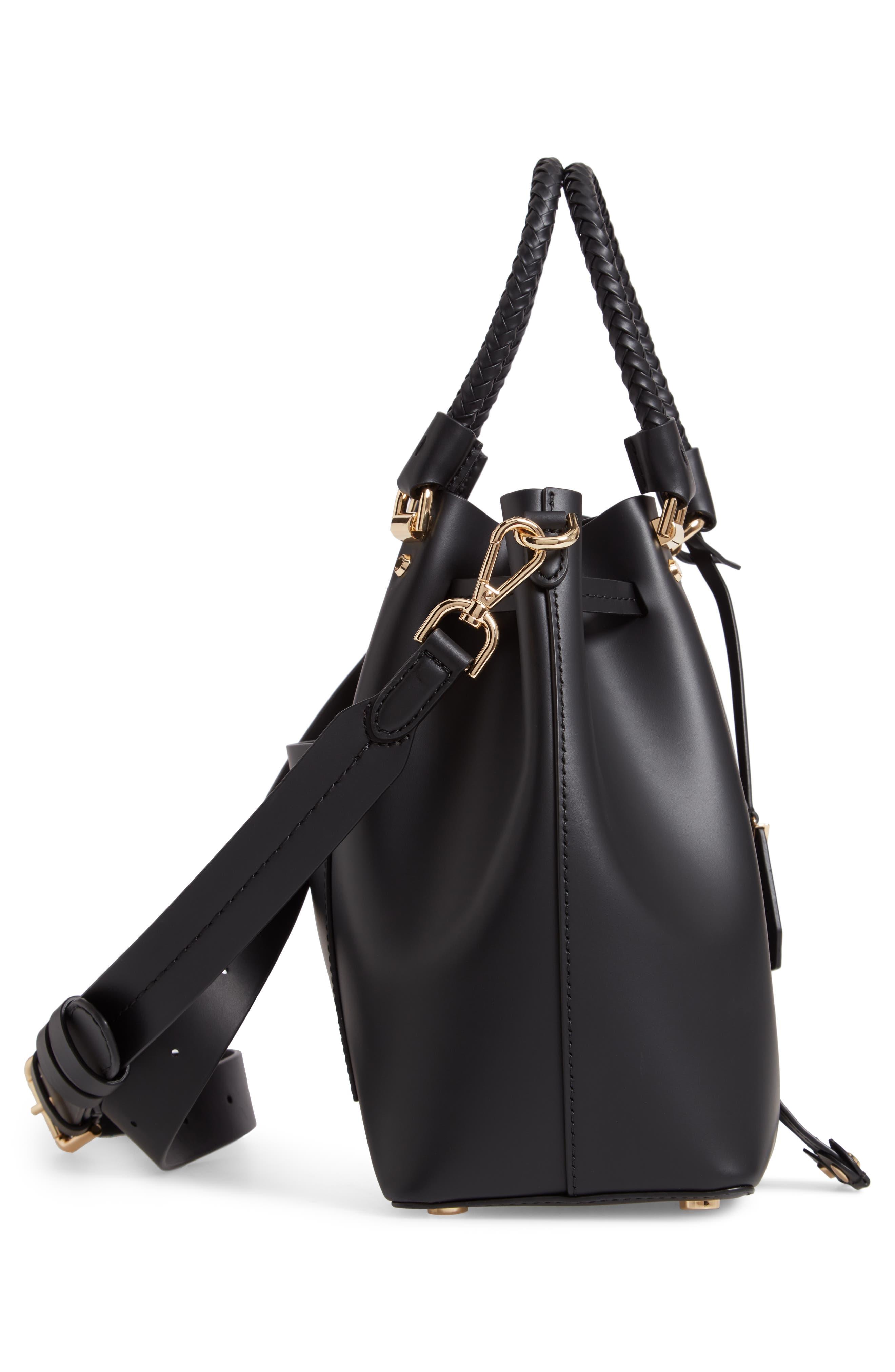 Blakely Leather Bucket Bag,                             Alternate thumbnail 5, color,                             BLACK