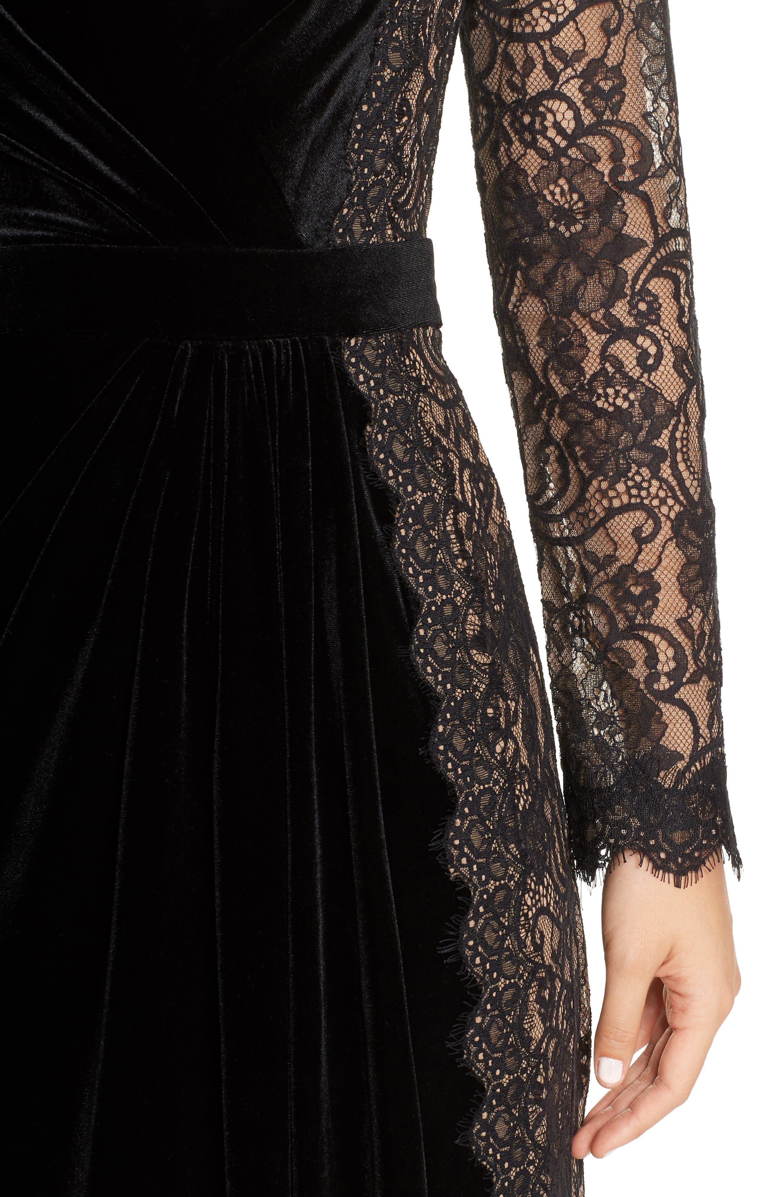 Lace & Velvet Gown,                             Alternate thumbnail 4, color,                             BLACK/ NUDE