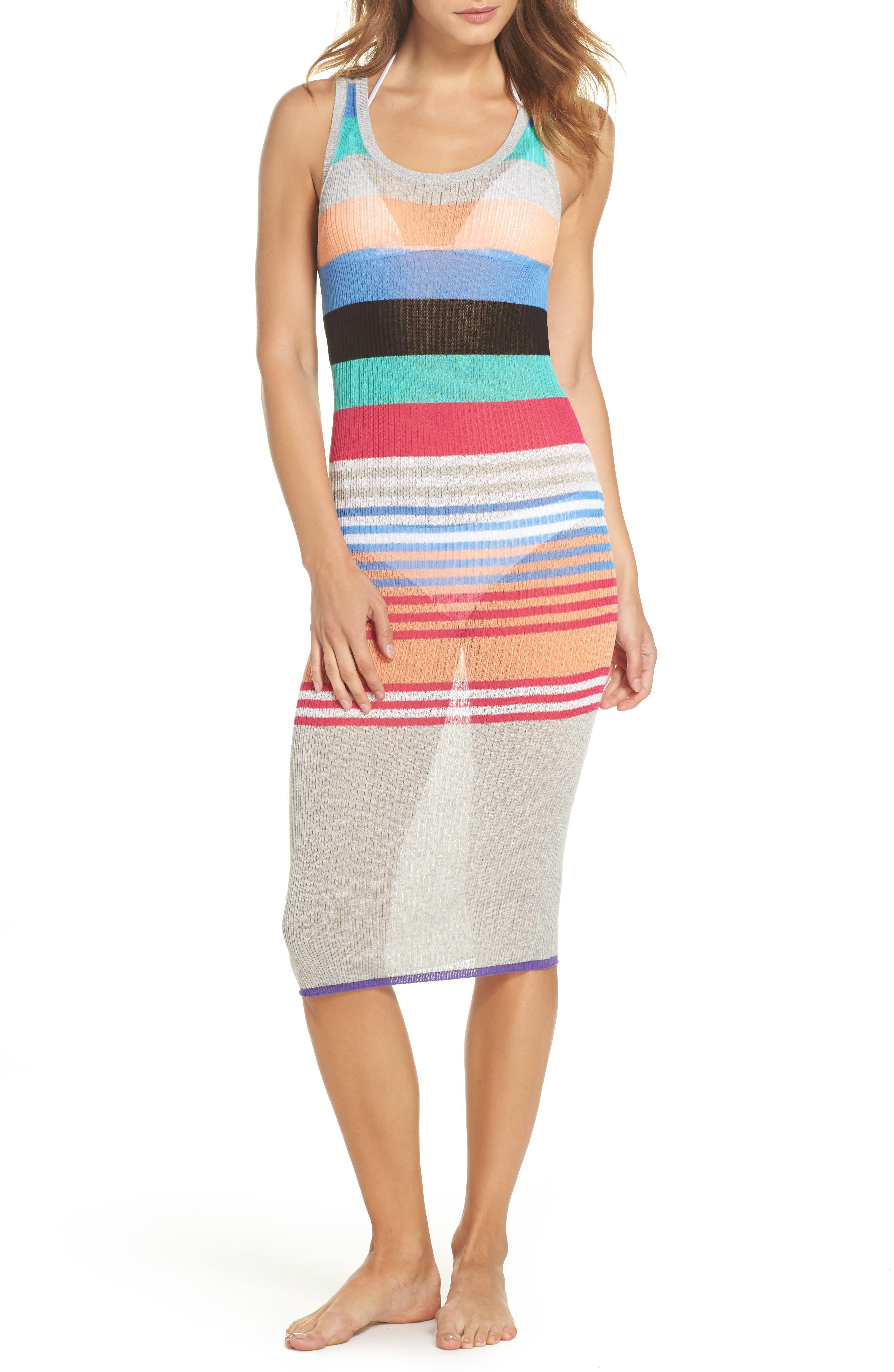Knit Cover-Up Dress,                             Main thumbnail 1, color,                             001