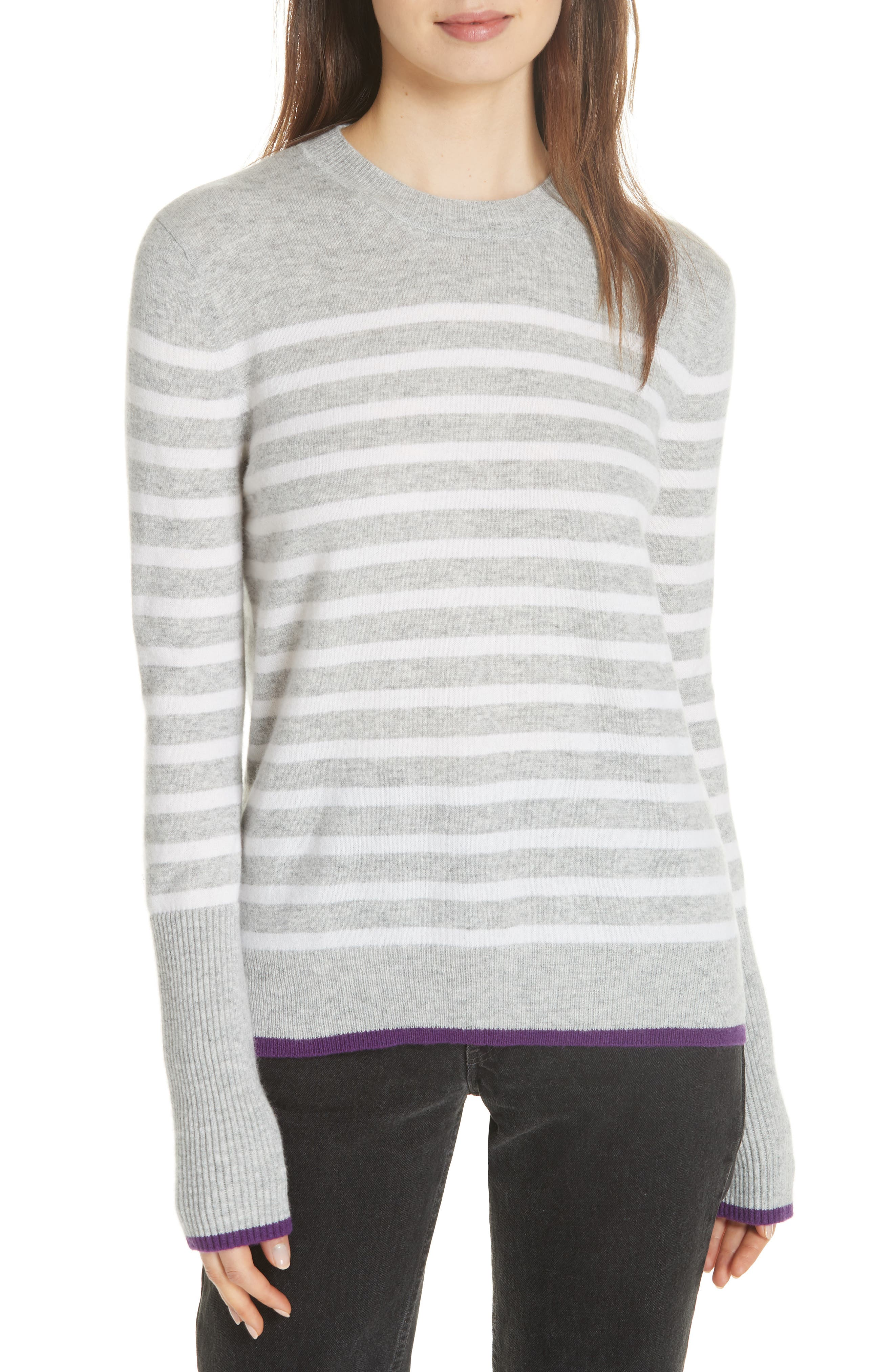 AAA Lean Lines Cashmere Sweater,                         Main,                         color, GREY MARLE/ CREAM/ PURPLE