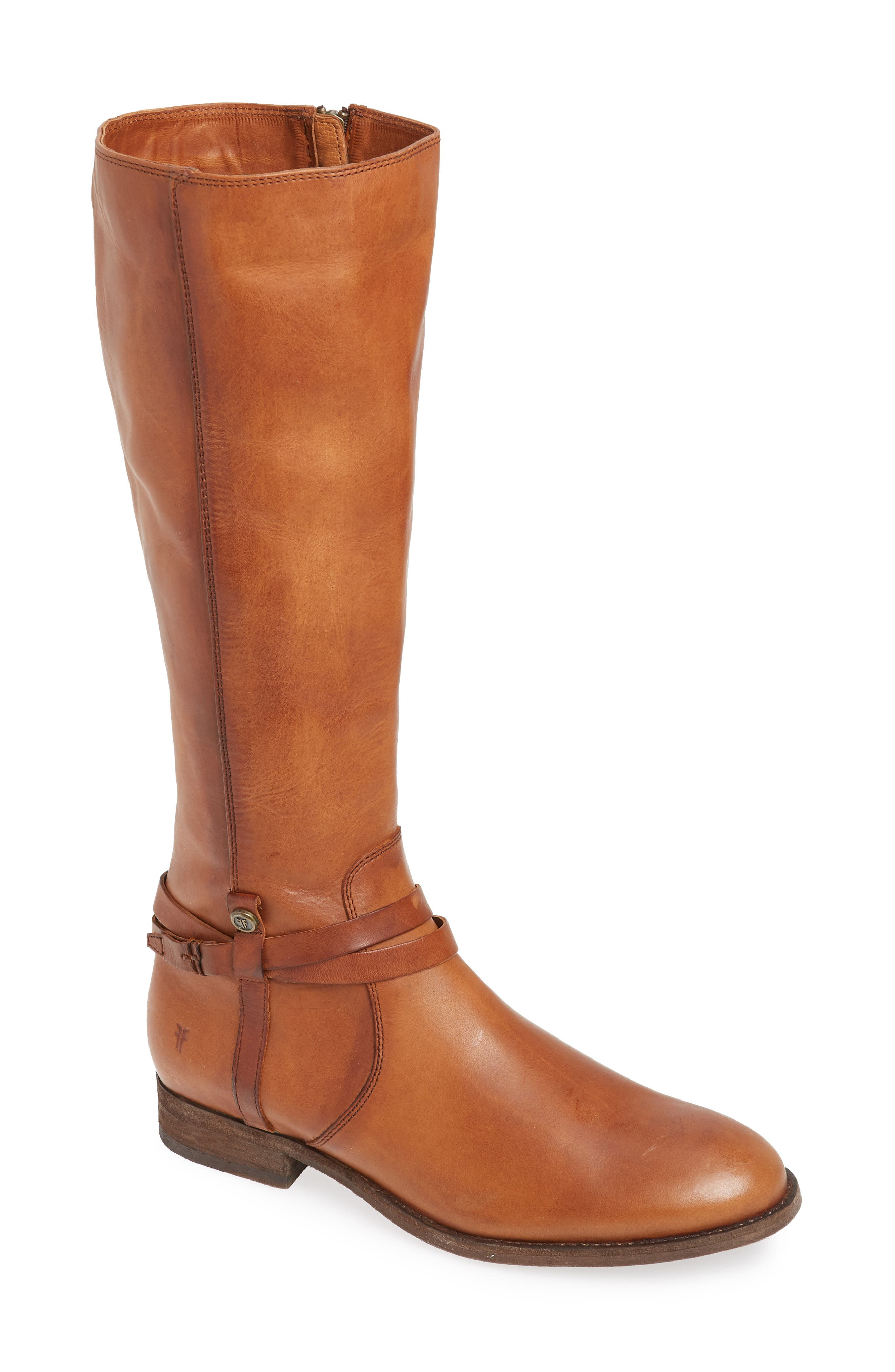 Frye Melissa Belted Knee-High Riding Boot, Regular Calf- Brown