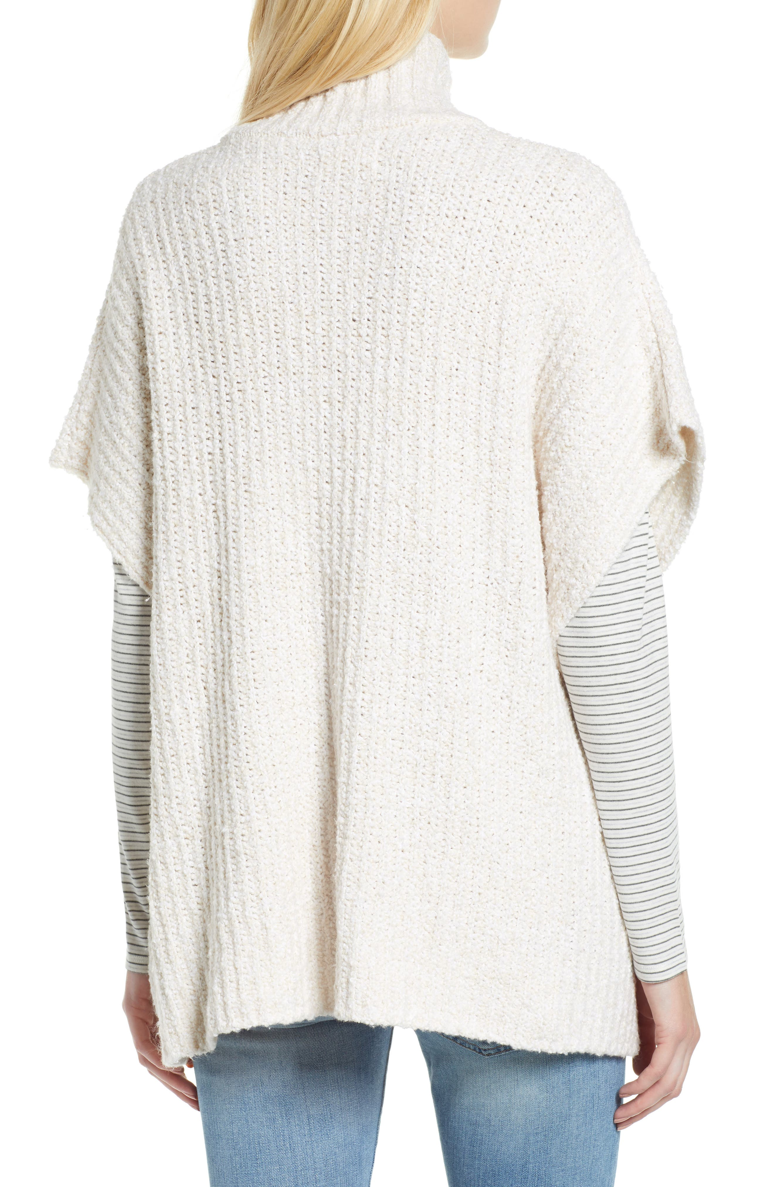 Ribbed Poncho Sweater,                             Alternate thumbnail 3, color,                             IVORY