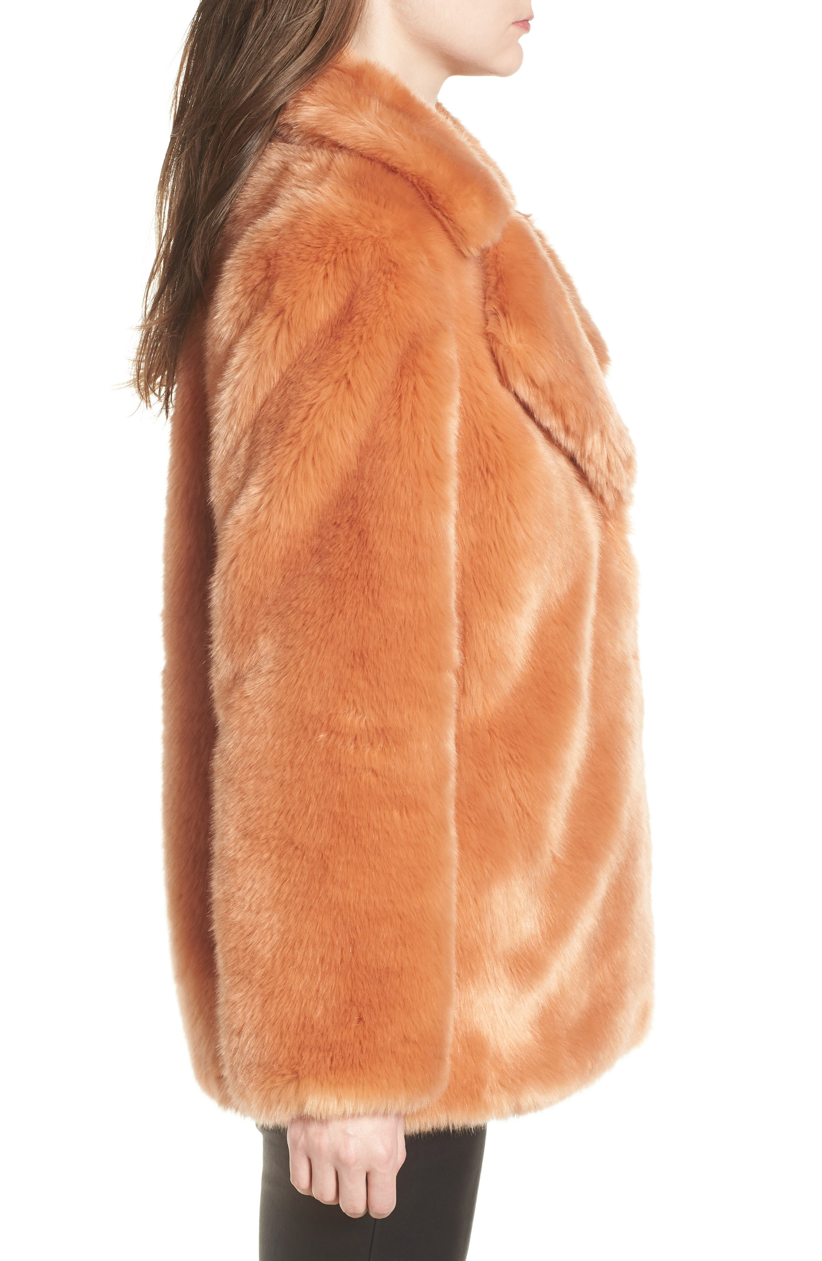 AVEC LES FILLES,                             Notch Collar Faux Fur Coat,                             Alternate thumbnail 3, color,                             669