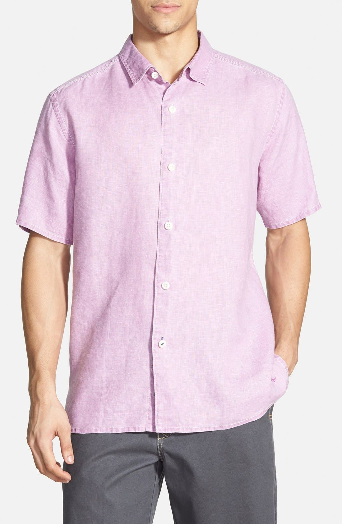 Seaglass Breezer Short Sleeve Linen Sport Shirt,                             Main thumbnail 16, color,