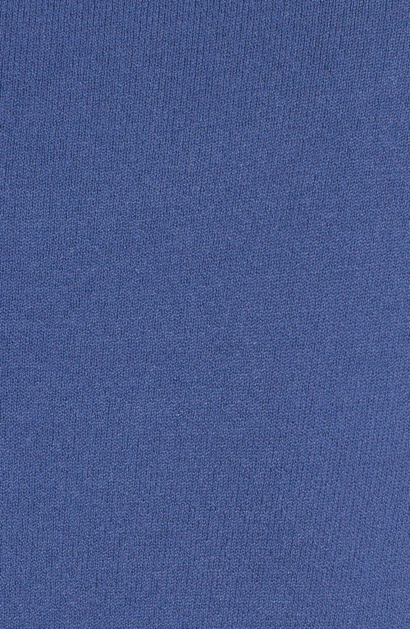 Knit Drop Waist Dress with Genuine Mink Fur Trim,                             Alternate thumbnail 5, color,                             BLUE