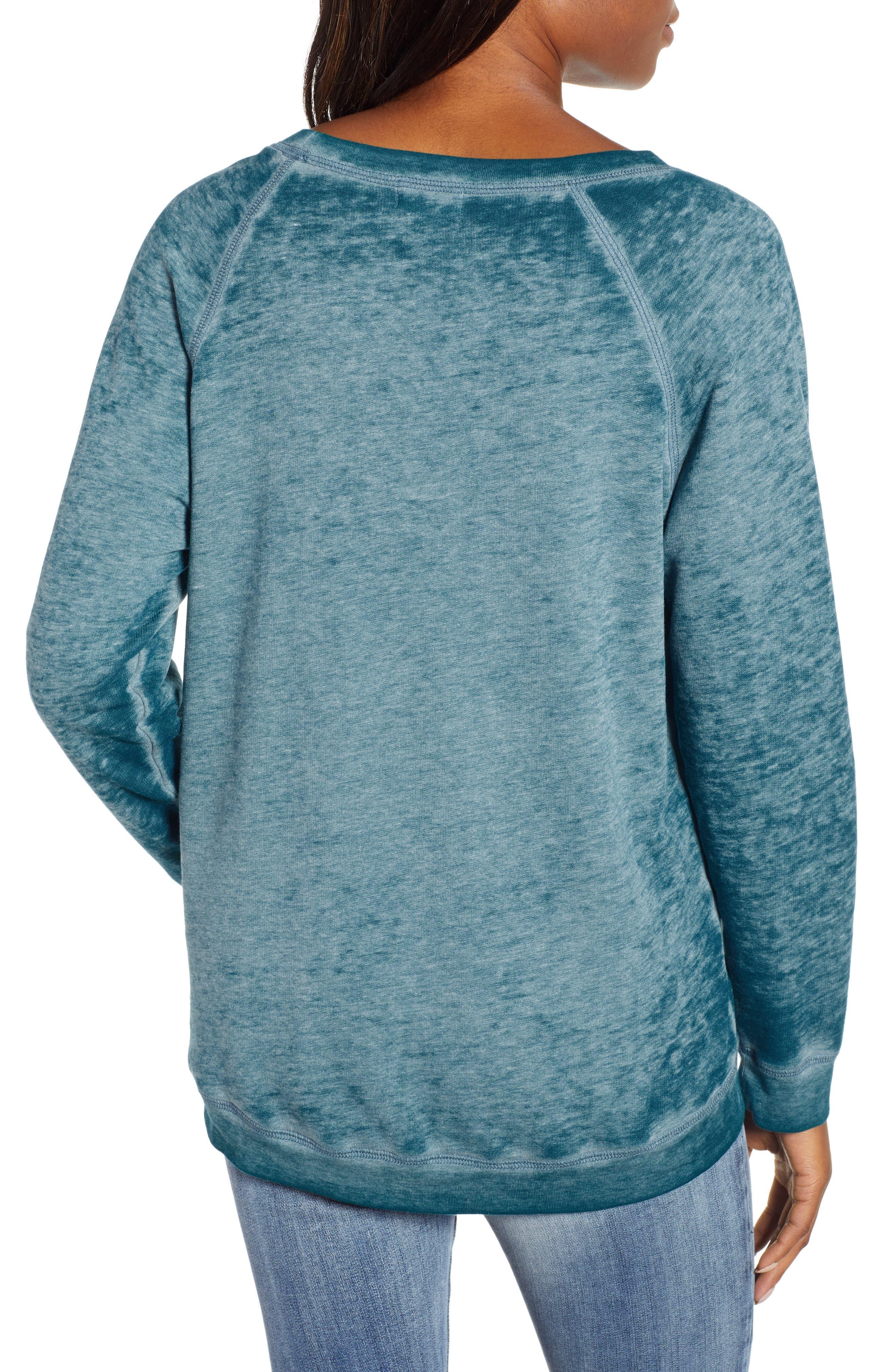 Burnout Sweatshirt,                             Alternate thumbnail 2, color,                             TEAL CORAL