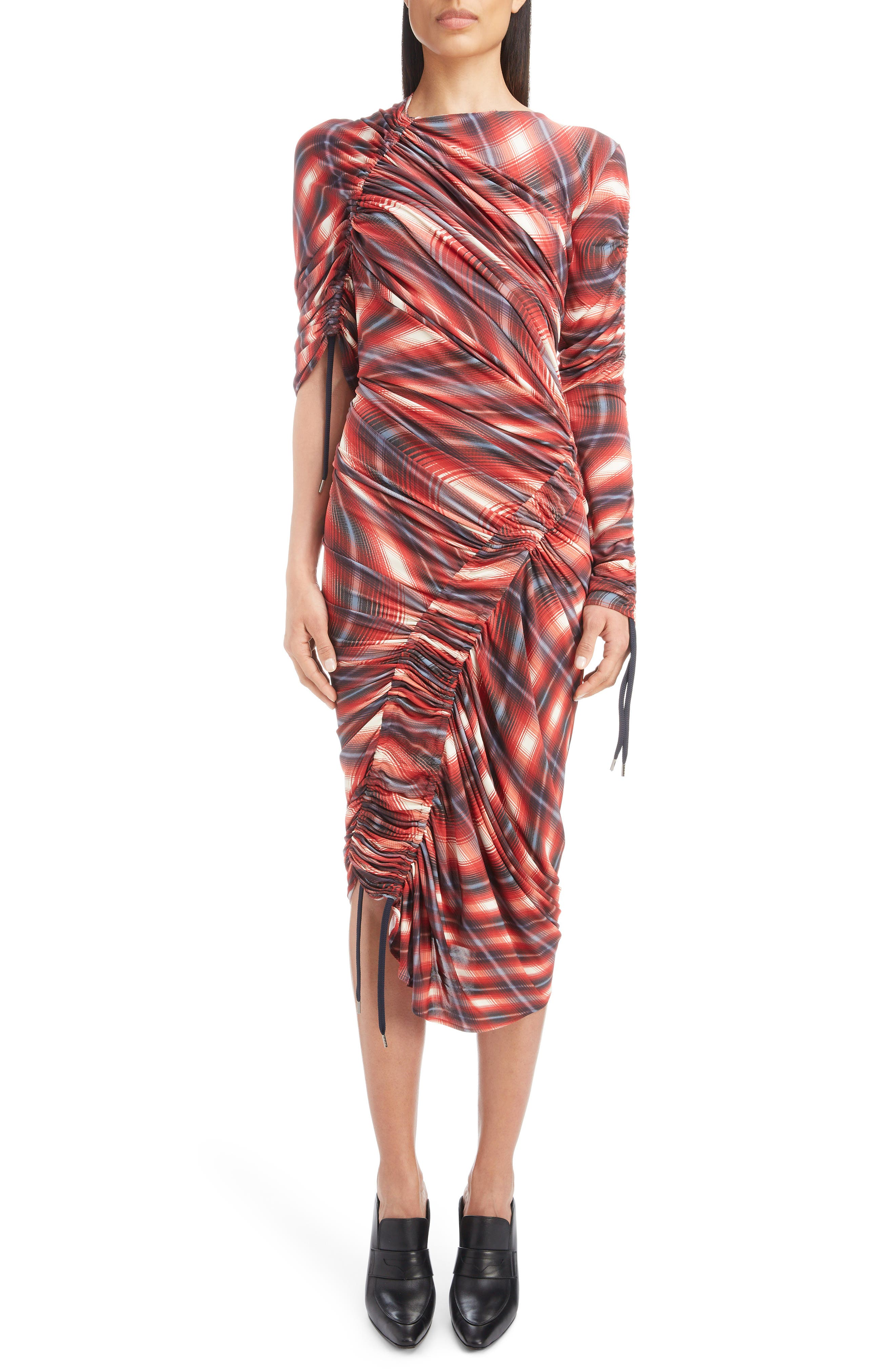 ATLEIN Wave Plaid Ruched Dress in Rouge