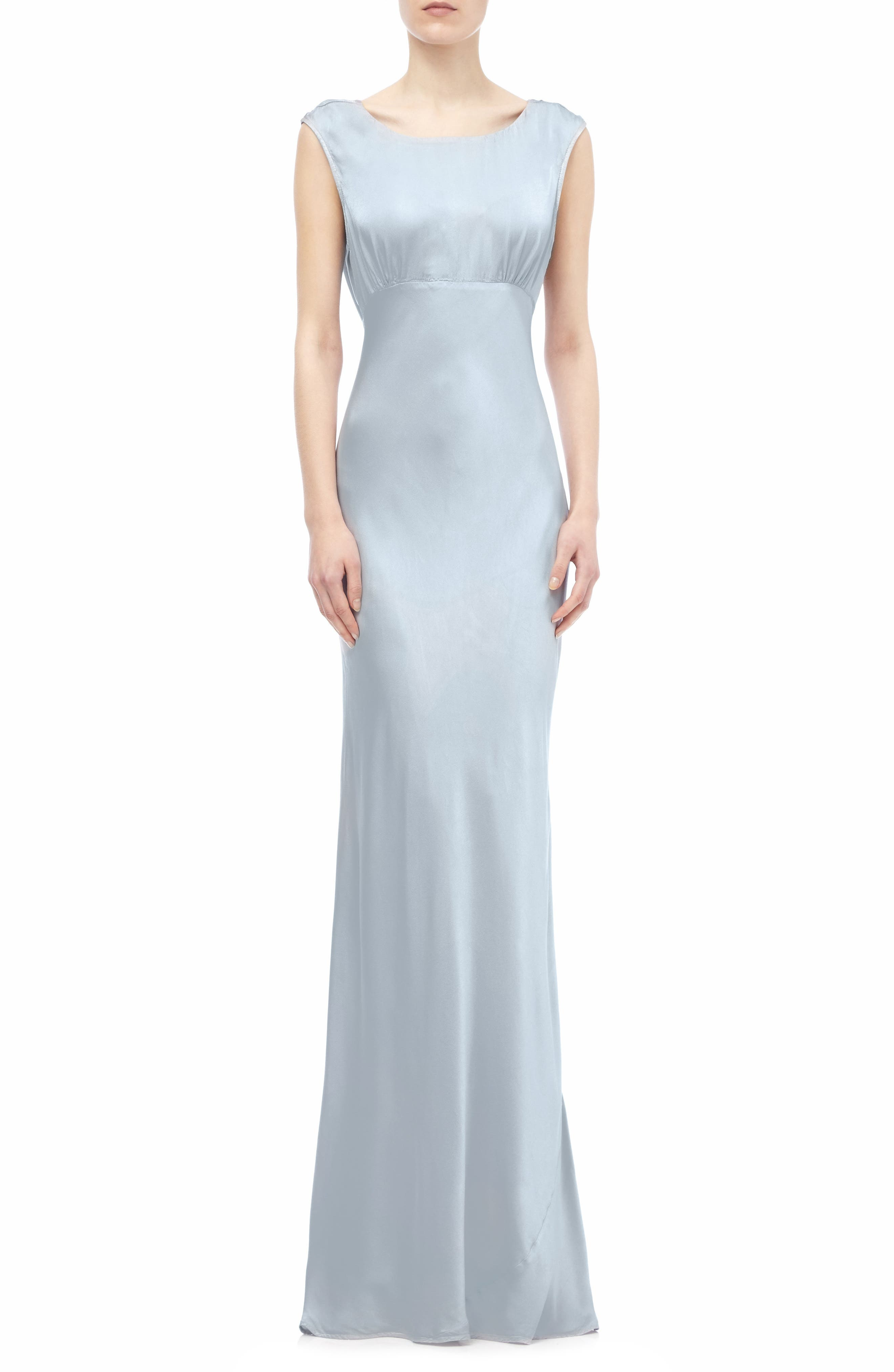 Salma Cowl Back Gown,                         Main,                         color, SILVER LAKE