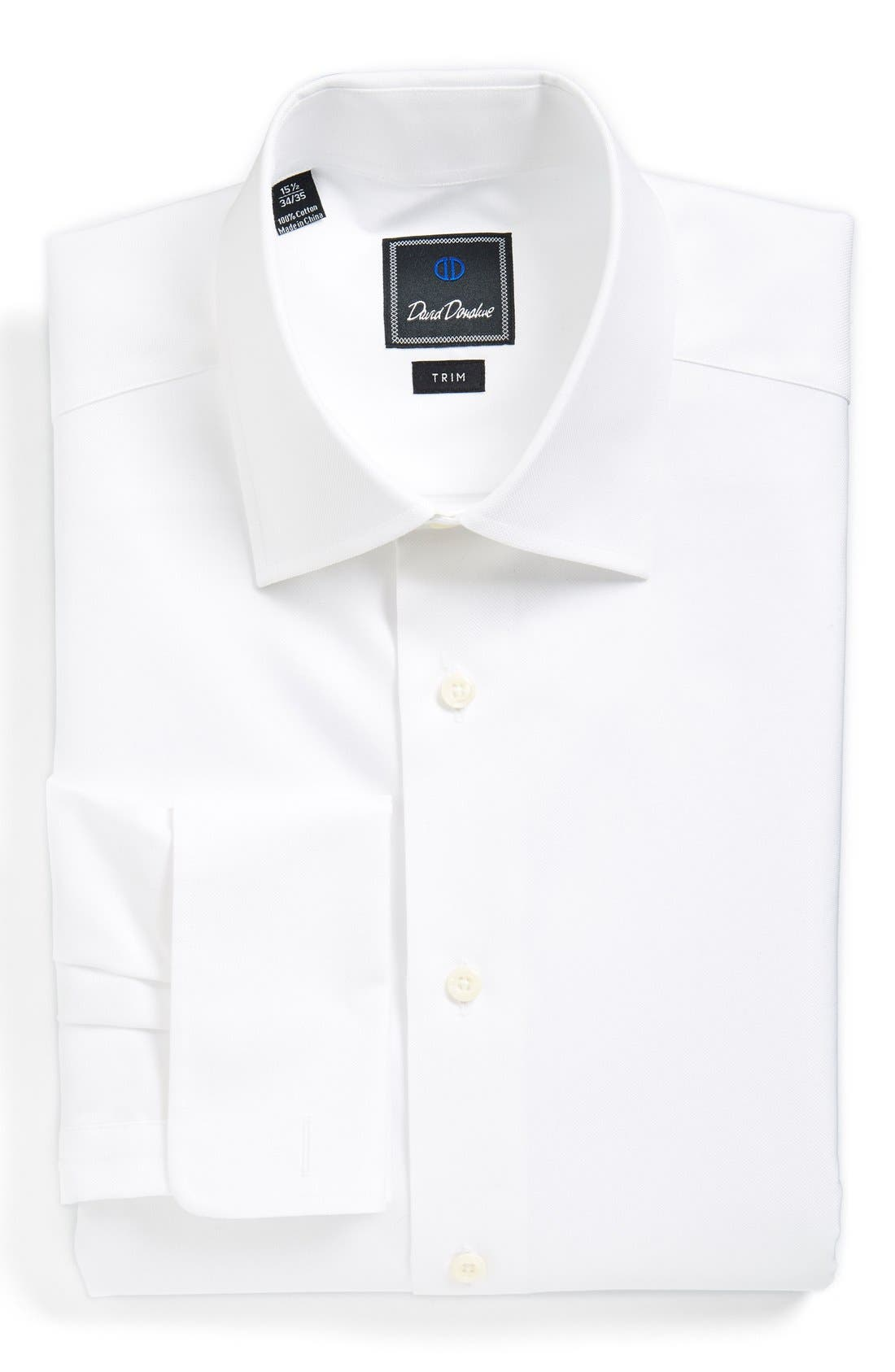 Trim Fit Solid French Cuff Dress Shirt,                             Main thumbnail 1, color,                             WHITE