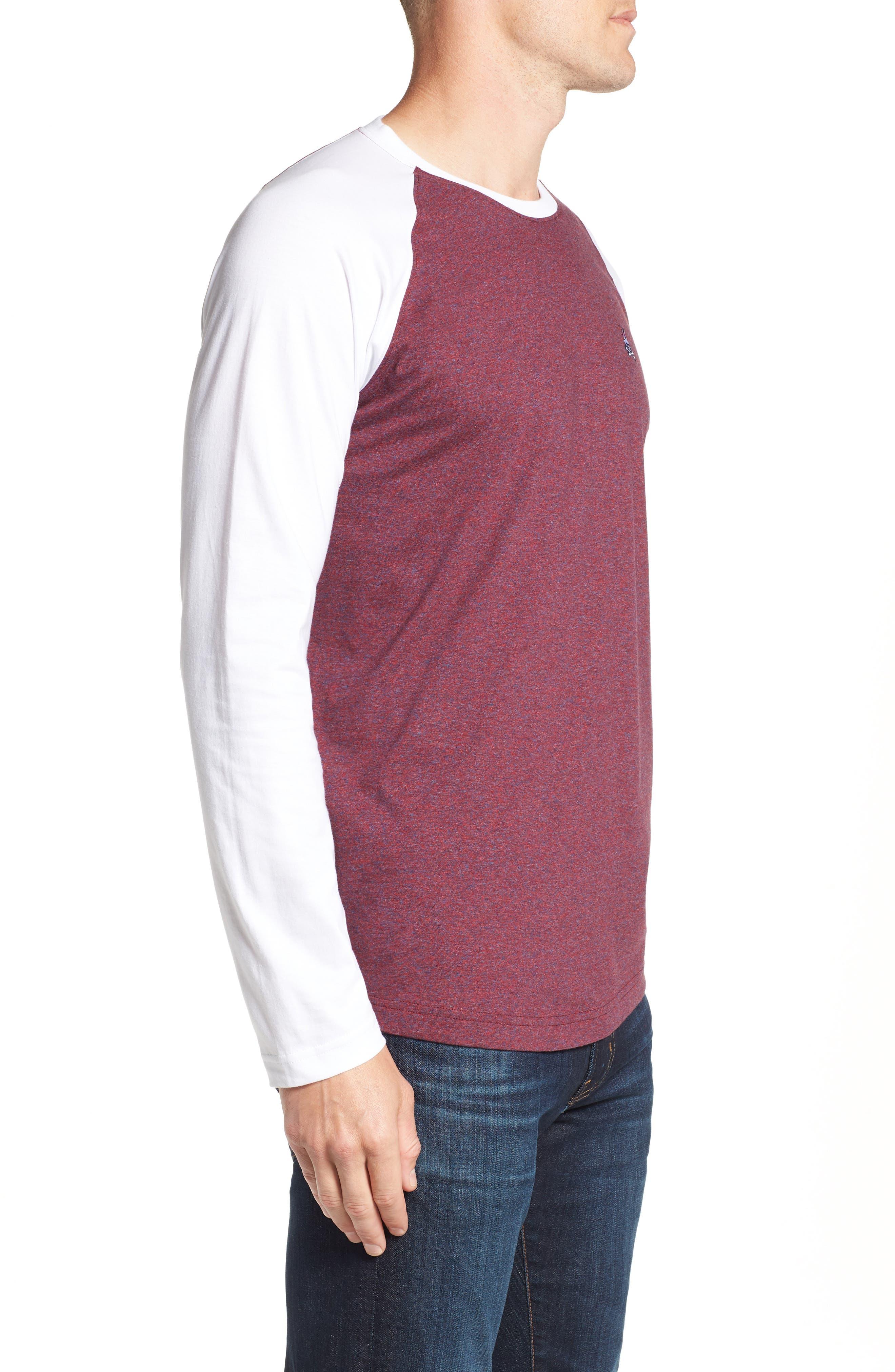 Cobb Raglan T-Shirt,                             Alternate thumbnail 3, color,                             BURGUNDY SALT PEPPER