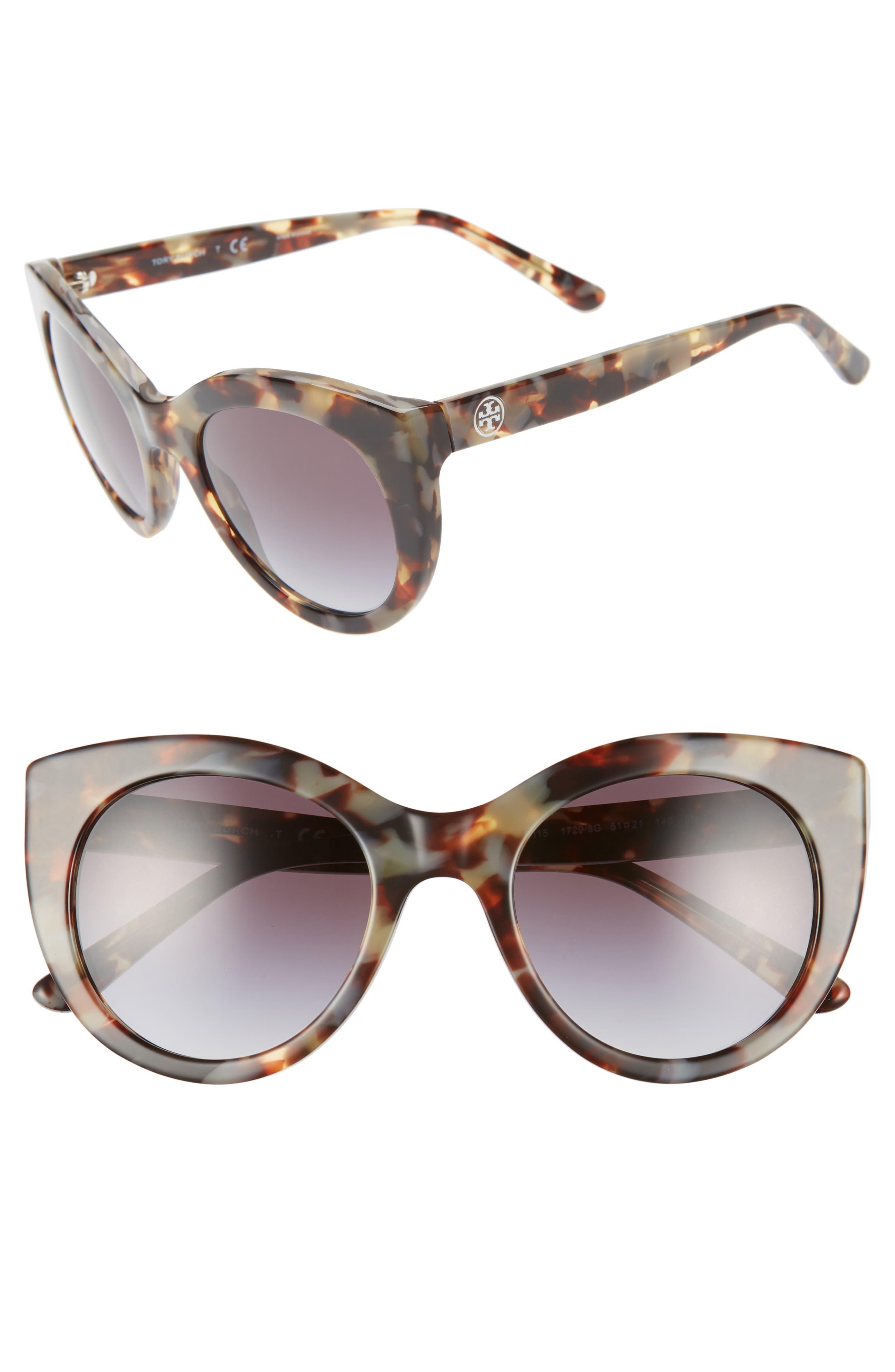 TORY BURCH 51mm Cat Eye Sunglasses, Main, color, 001
