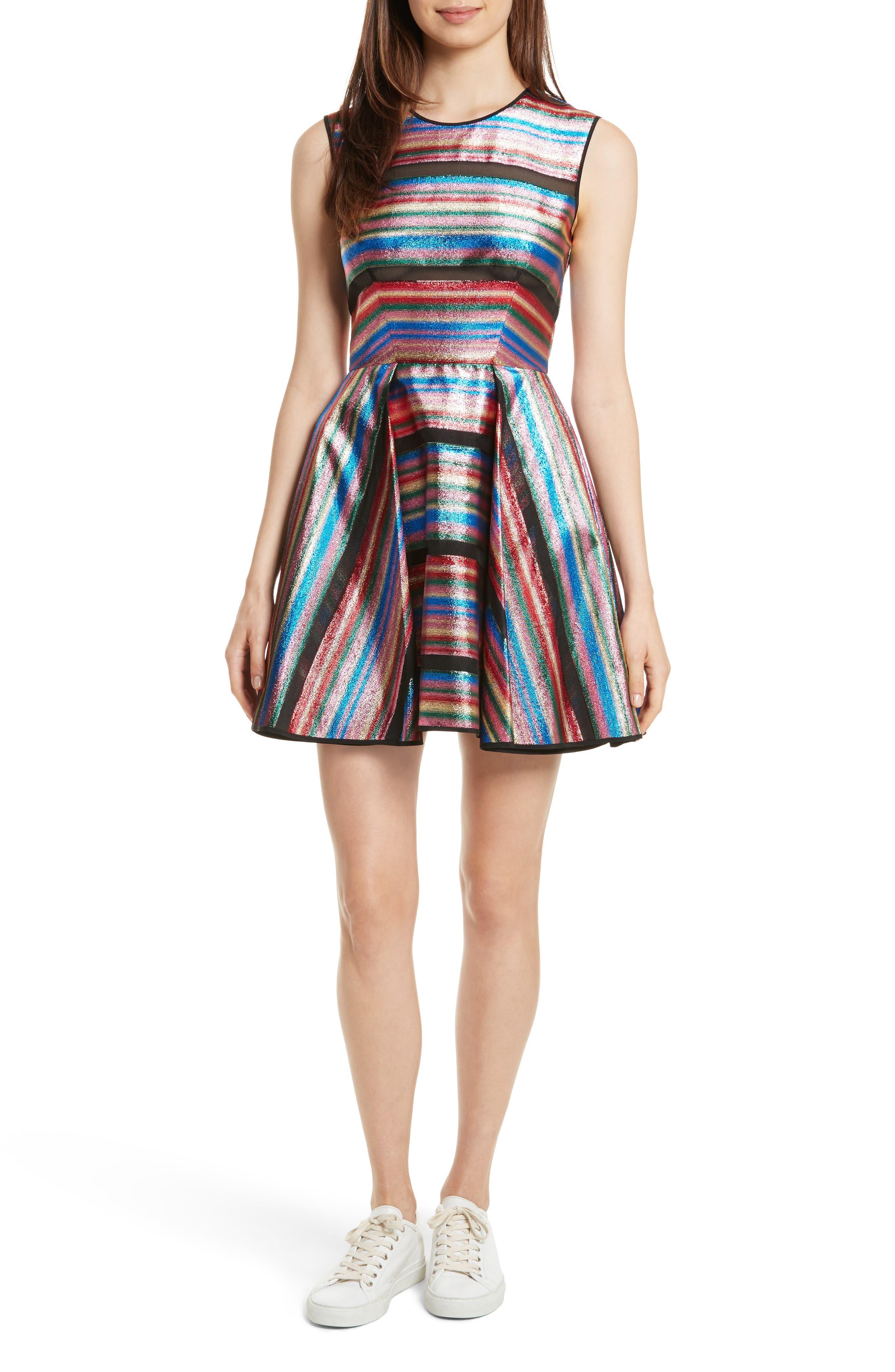 Balli Metallic Stripe Fit & Flare Dress,                         Main,                         color, 464