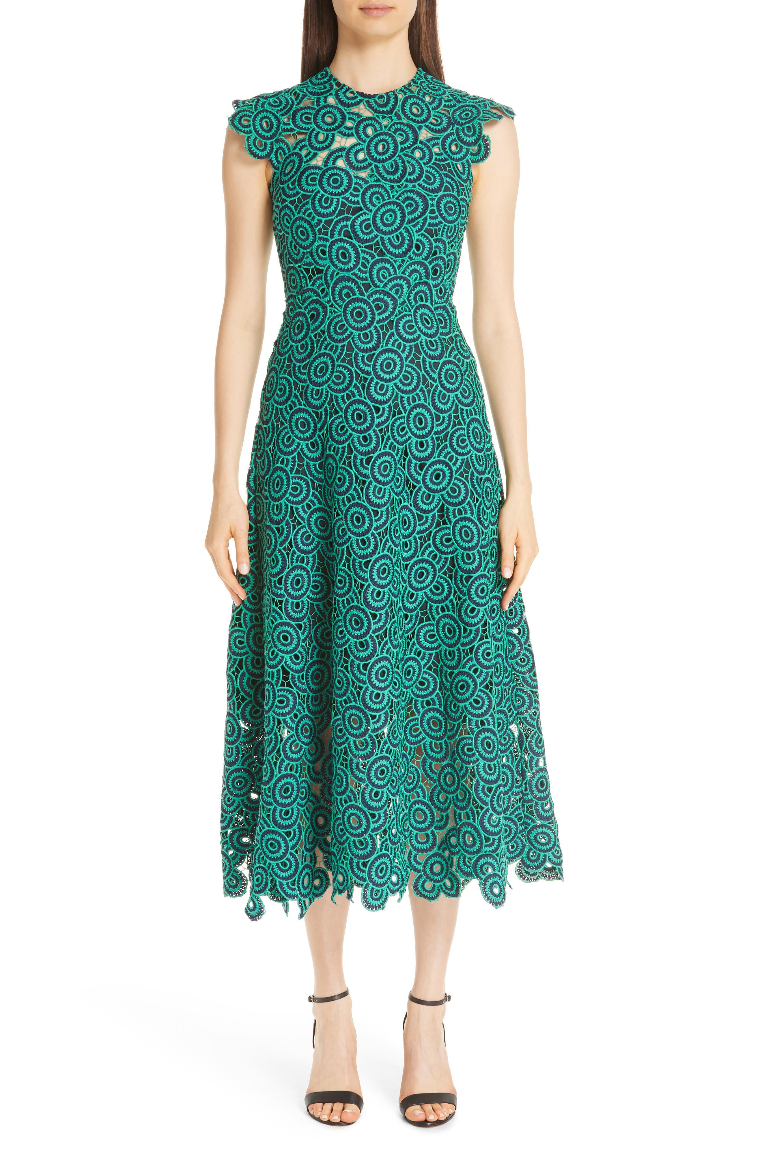 Lela Rose Crochet Circle Midi Dress, Blue