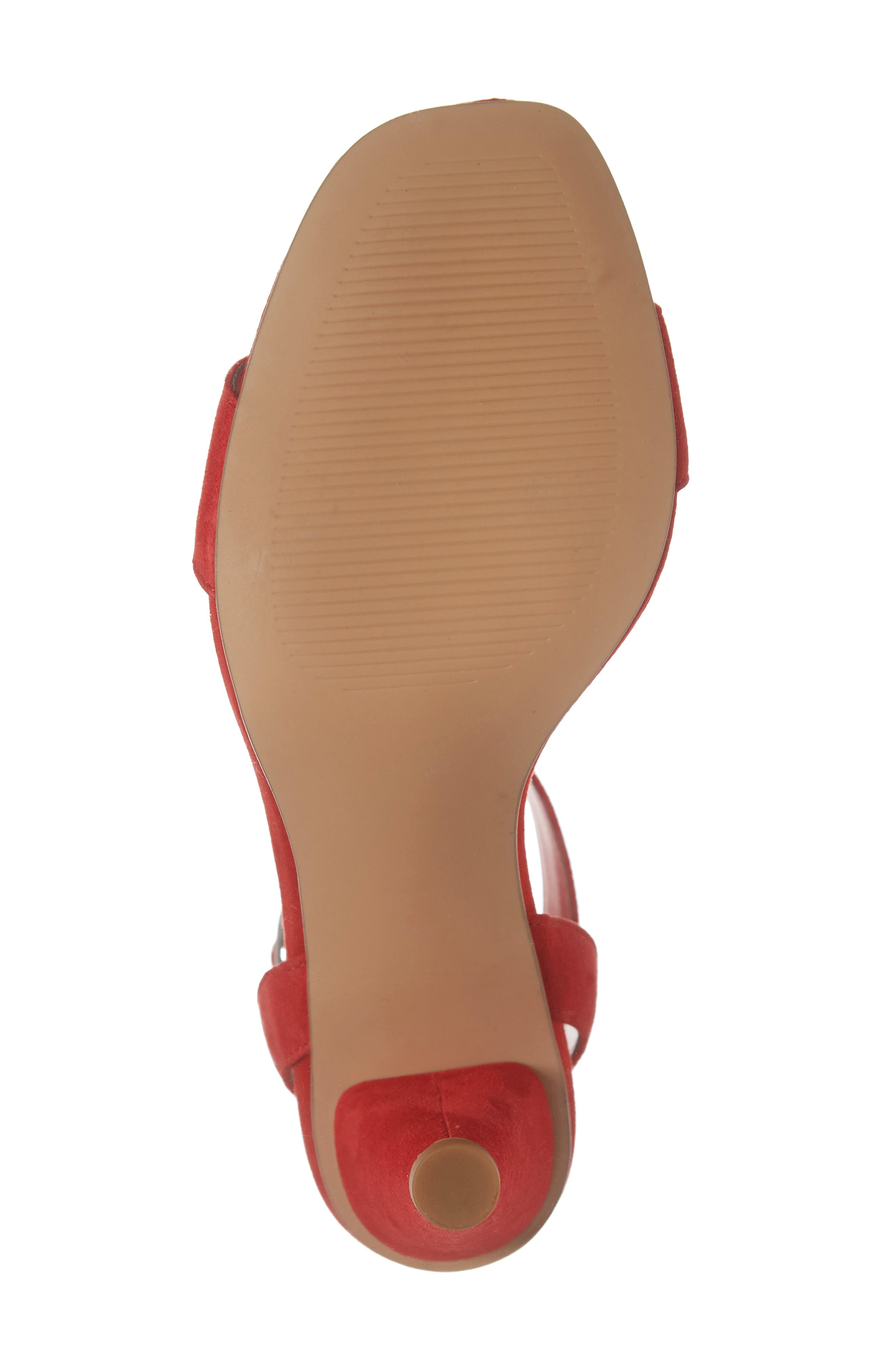 Cleo Cone Heel Sandal,                             Alternate thumbnail 6, color,                             RED SUEDE