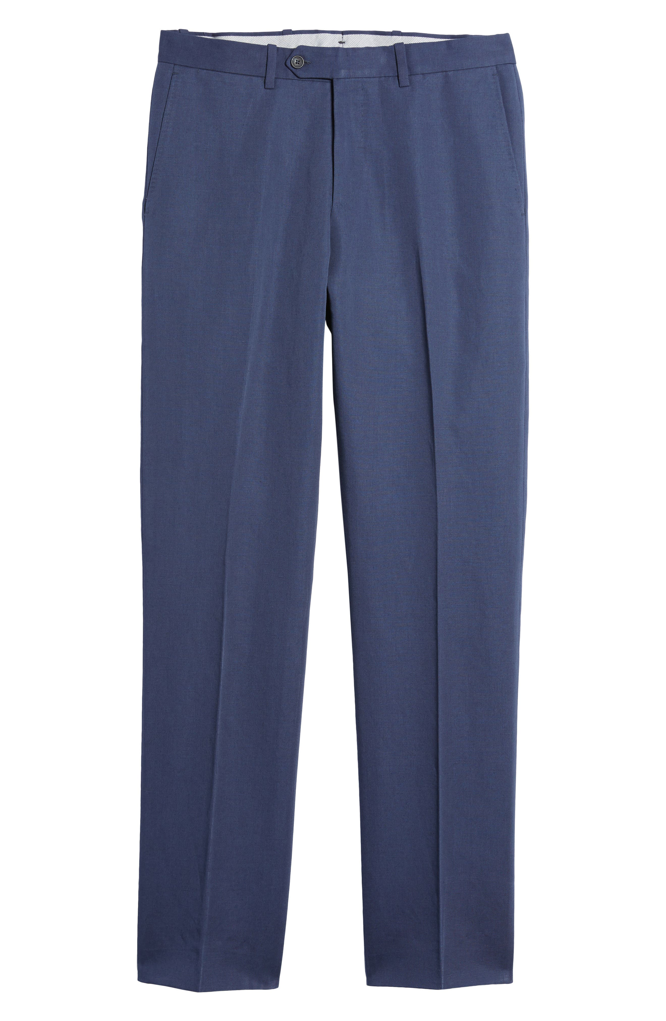 Flat Front Solid Cotton & Linen Trousers,                             Alternate thumbnail 24, color,