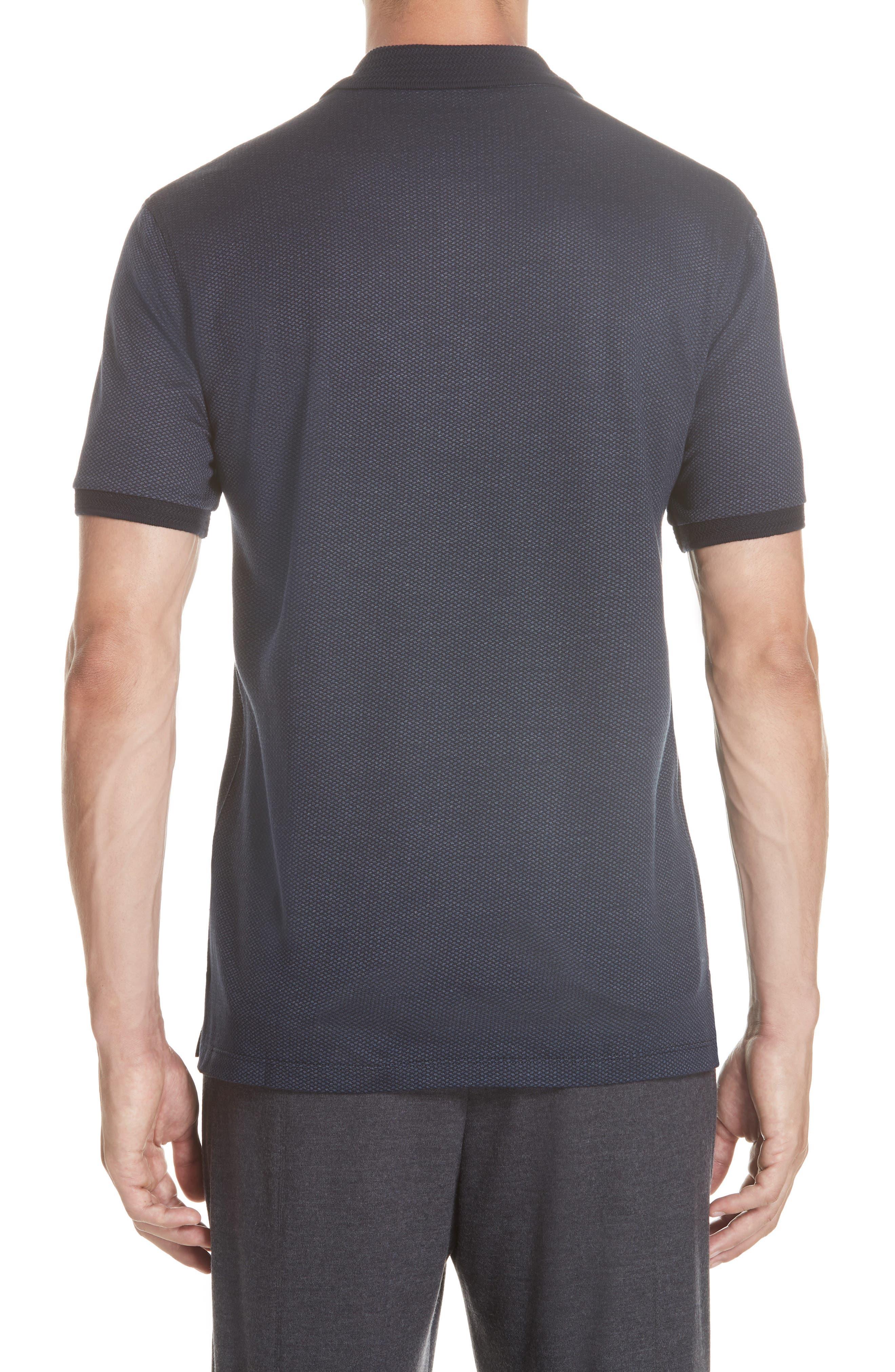 Cotton & Silk Polo Shirt,                             Alternate thumbnail 2, color,                             NAVY