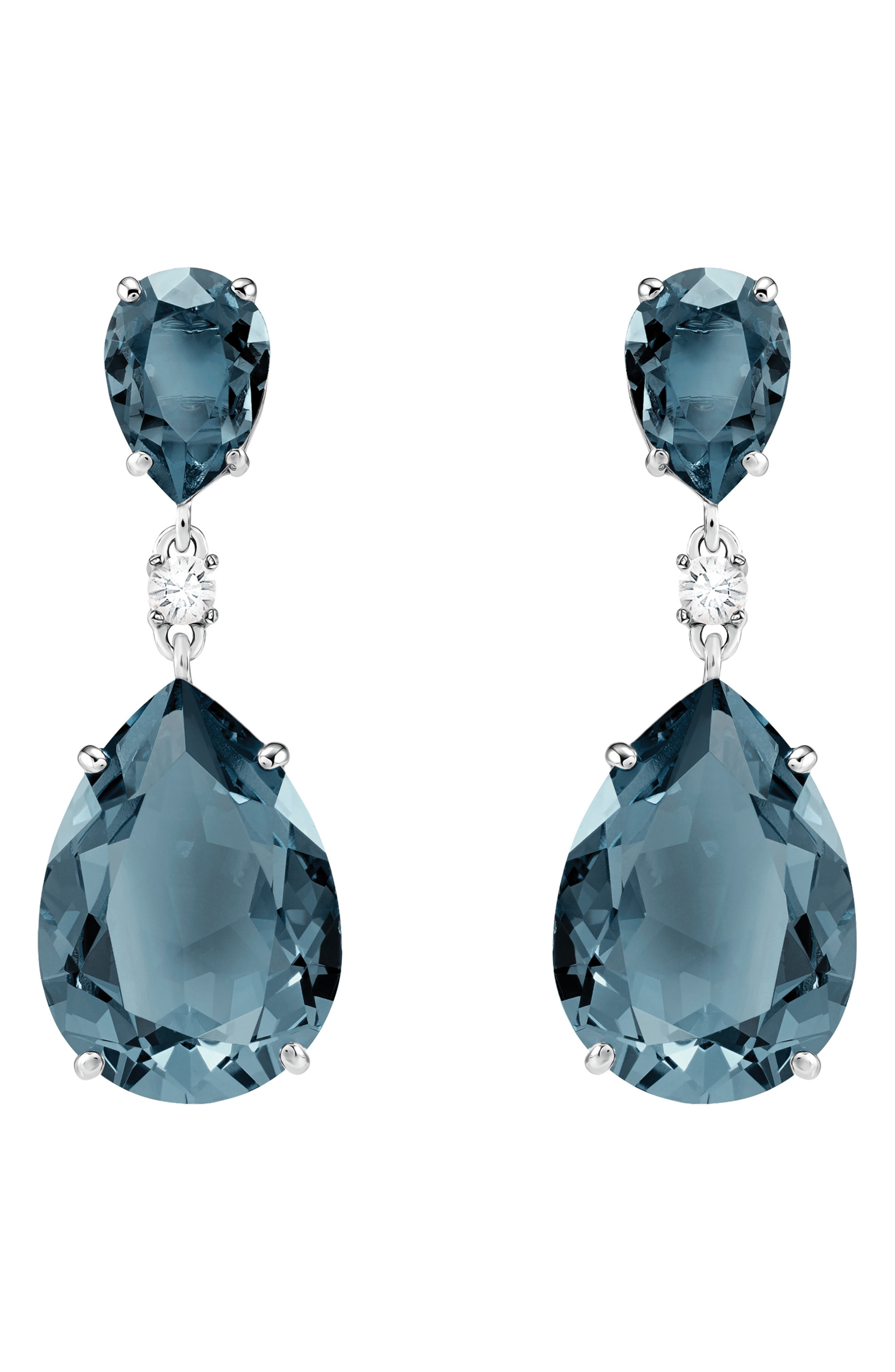 Pear Crystal Drop Earrings,                             Main thumbnail 1, color,                             TEAL
