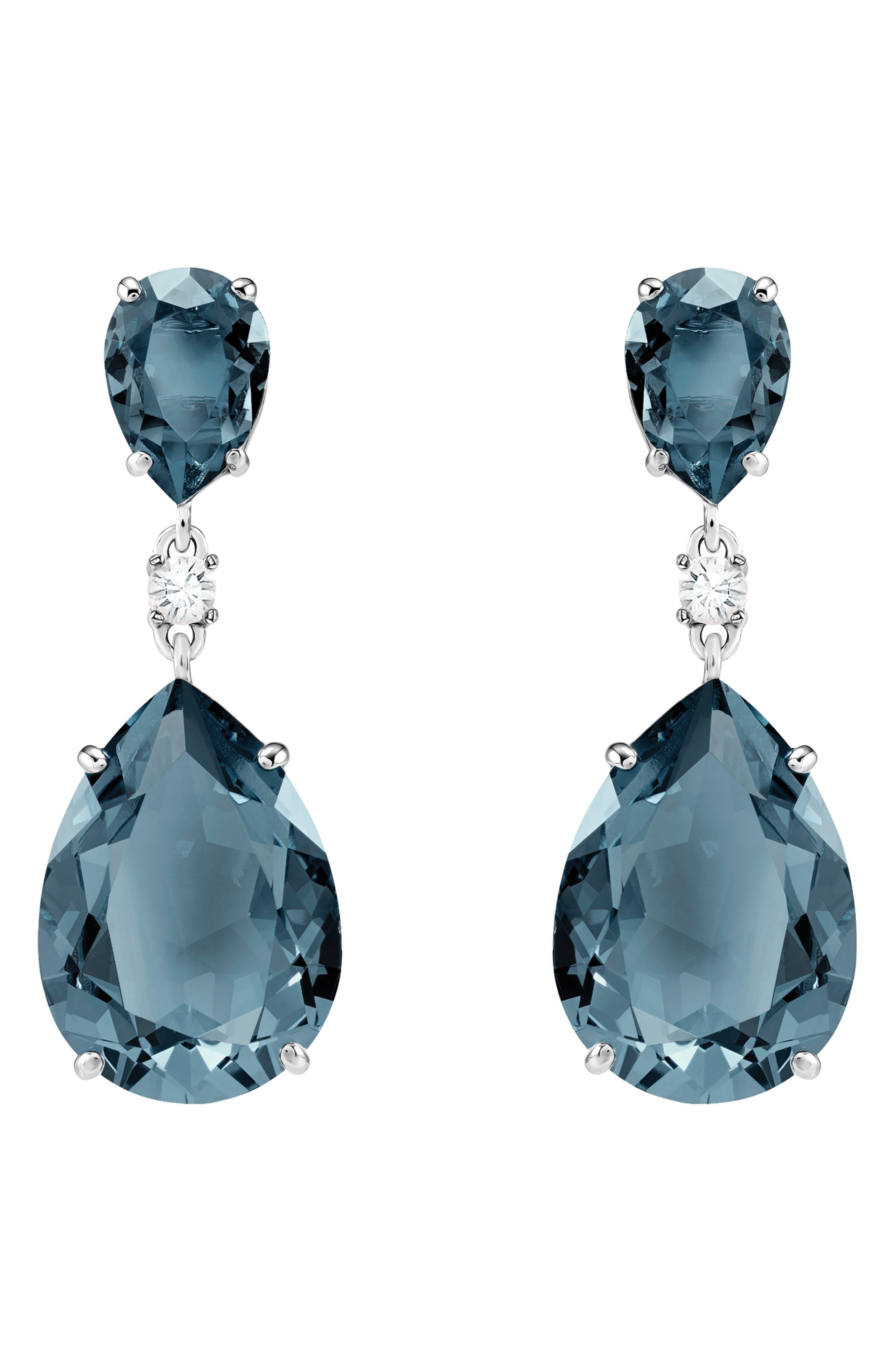 Pear Crystal Drop Earrings,                         Main,                         color, TEAL
