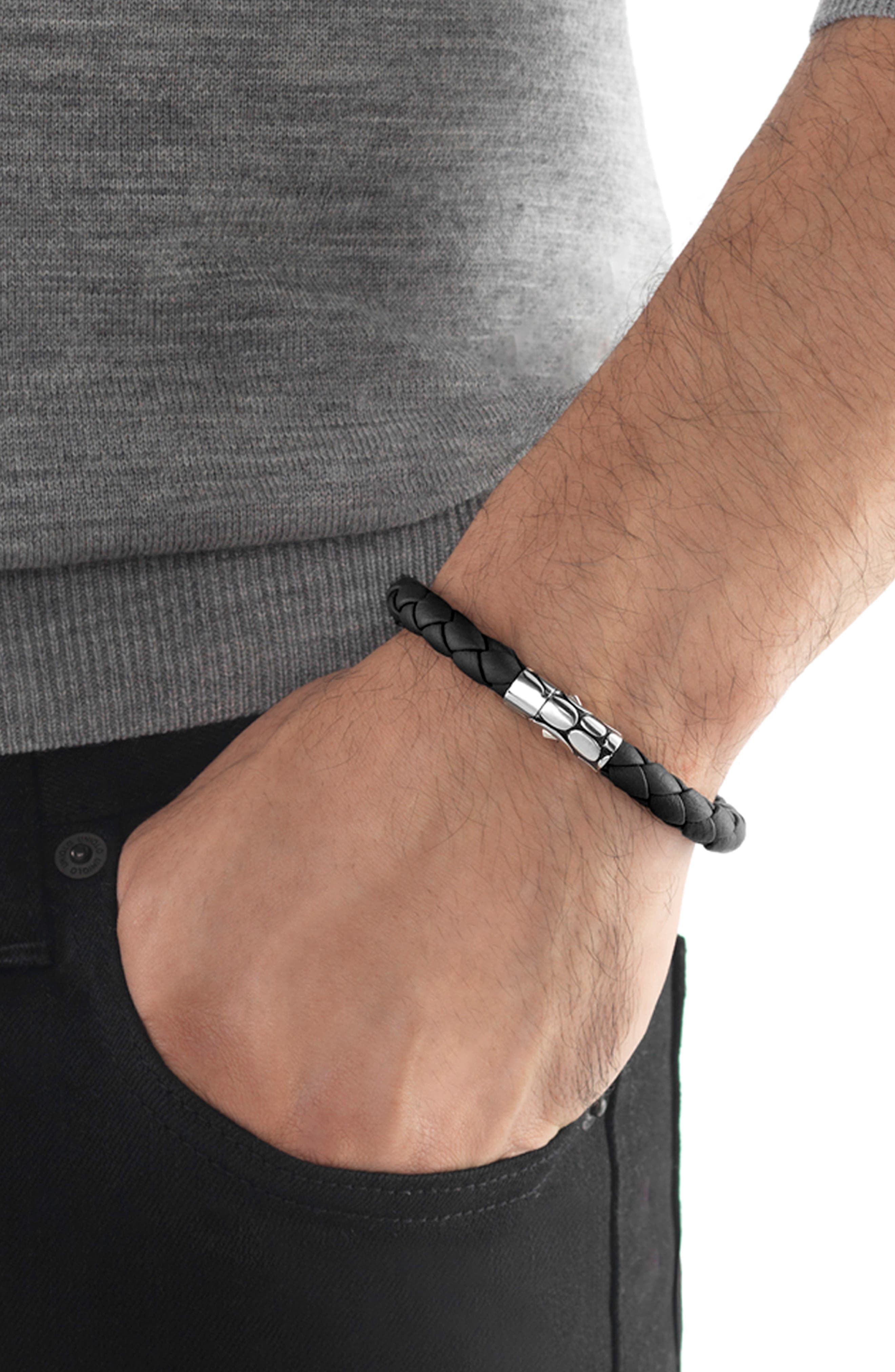 'Kali' Leather Bracelet,                             Alternate thumbnail 2, color,                             SILVER/ BLACK