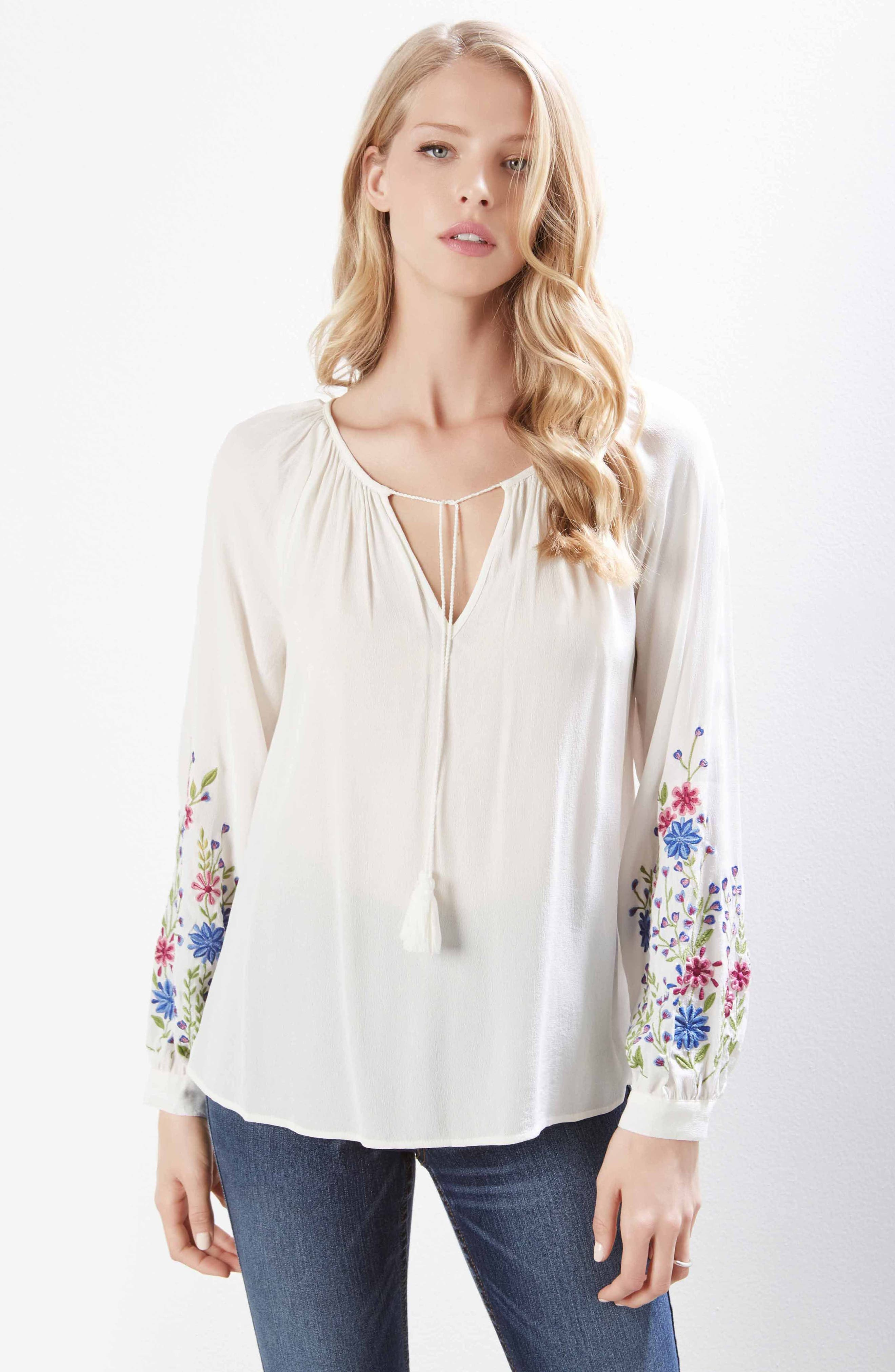 Embroidered Peasant Blouse,                             Alternate thumbnail 4, color,                             OFF WHITE