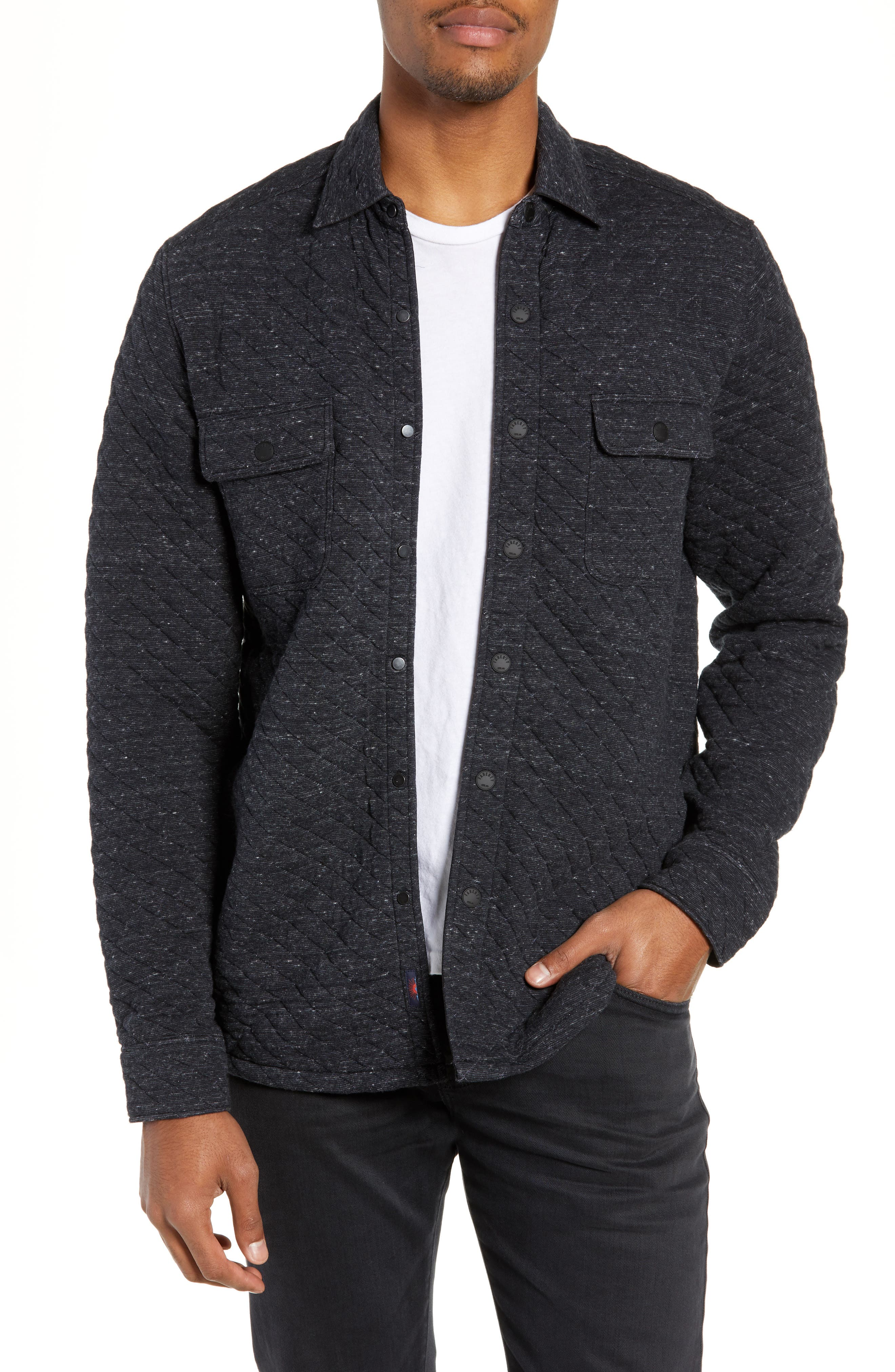 FAHERTY,                             Belmar Regular Fit Quilted Shirt Jacket,                             Main thumbnail 1, color,                             BLACK HEATHER