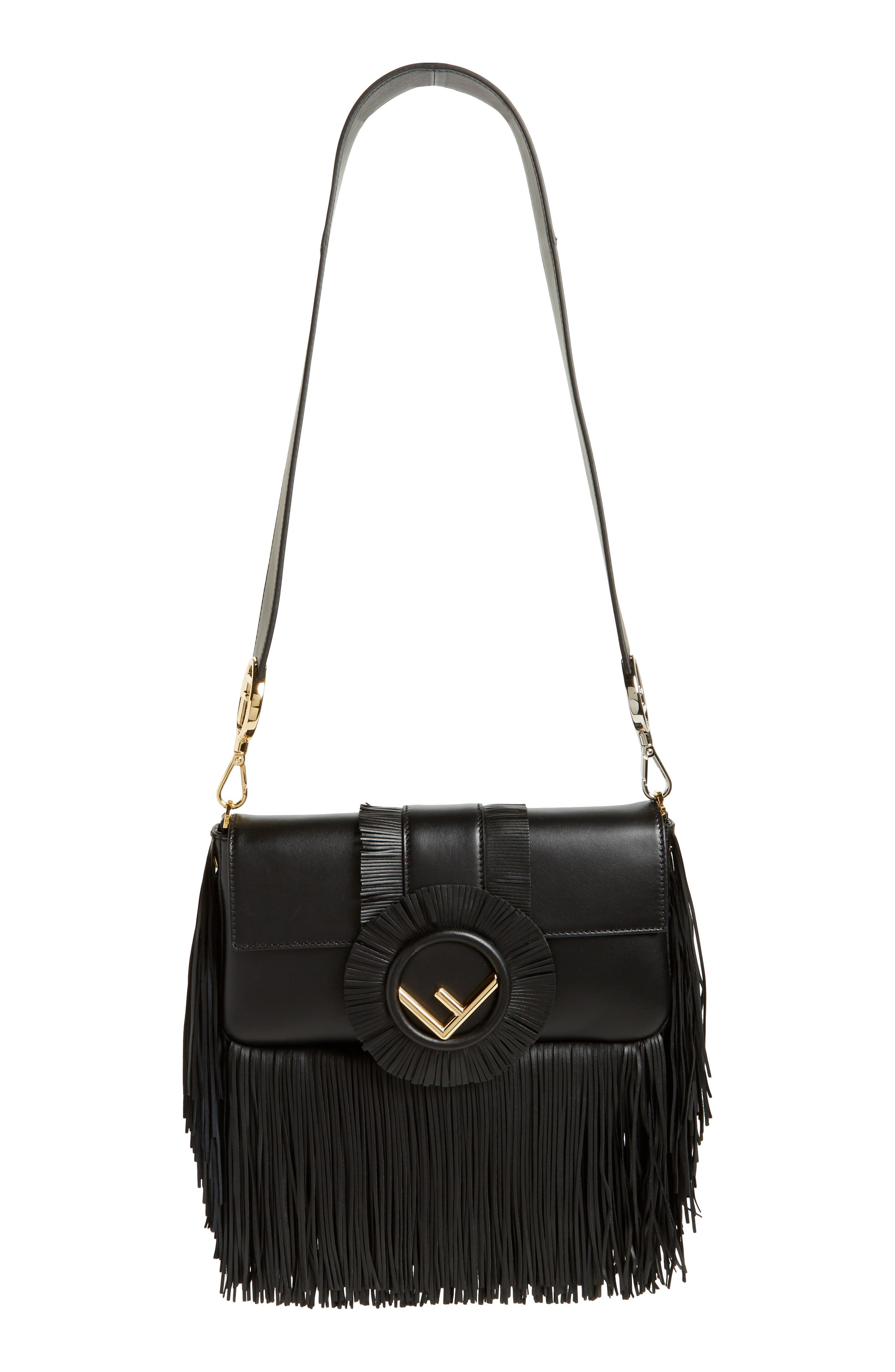Fringed Lambskin Leather Baguette,                             Main thumbnail 1, color,                             006