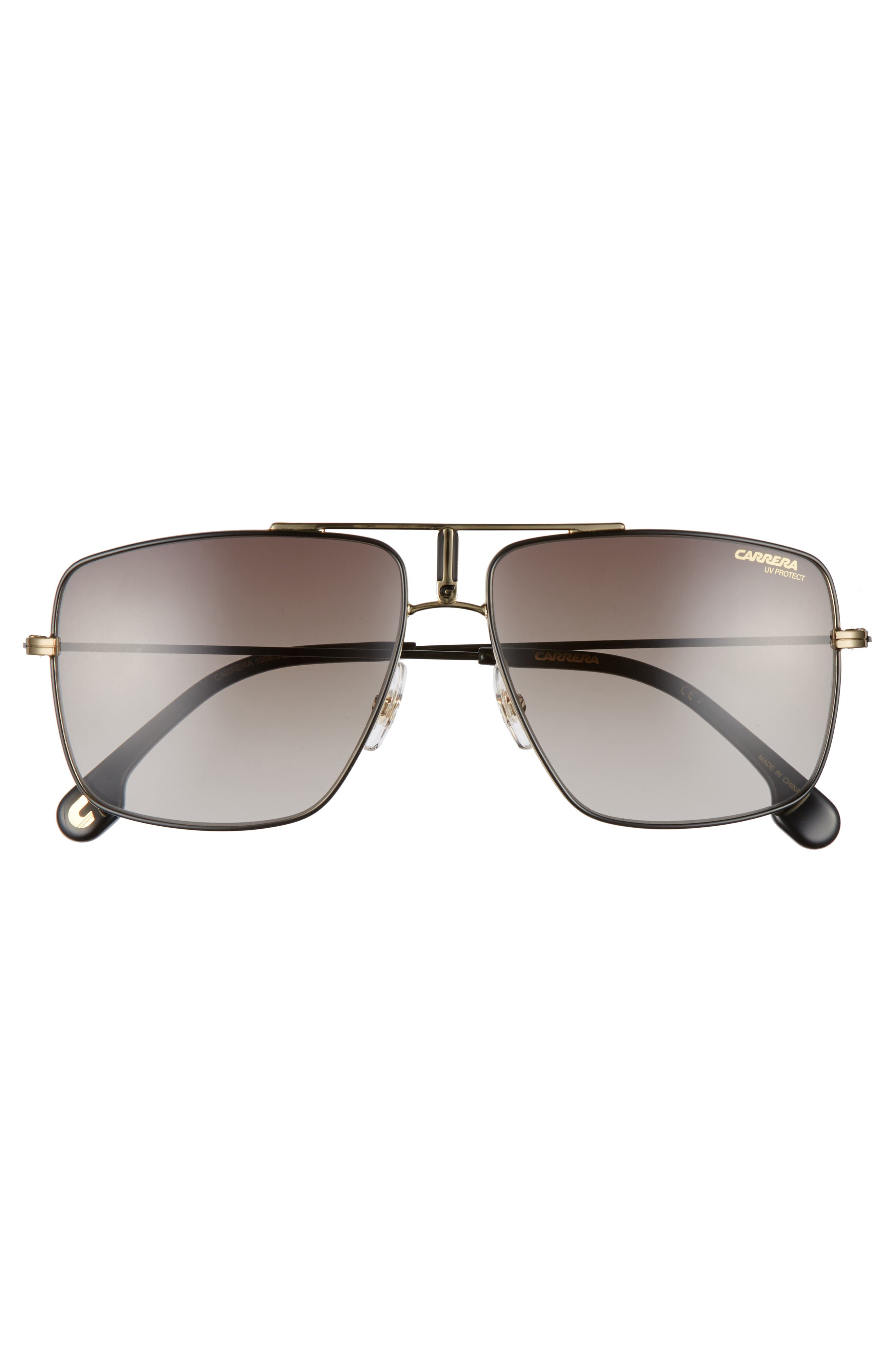 Carrera 60mm Aviator Sunglasses,                             Alternate thumbnail 2, color,                             BLACK GOLD