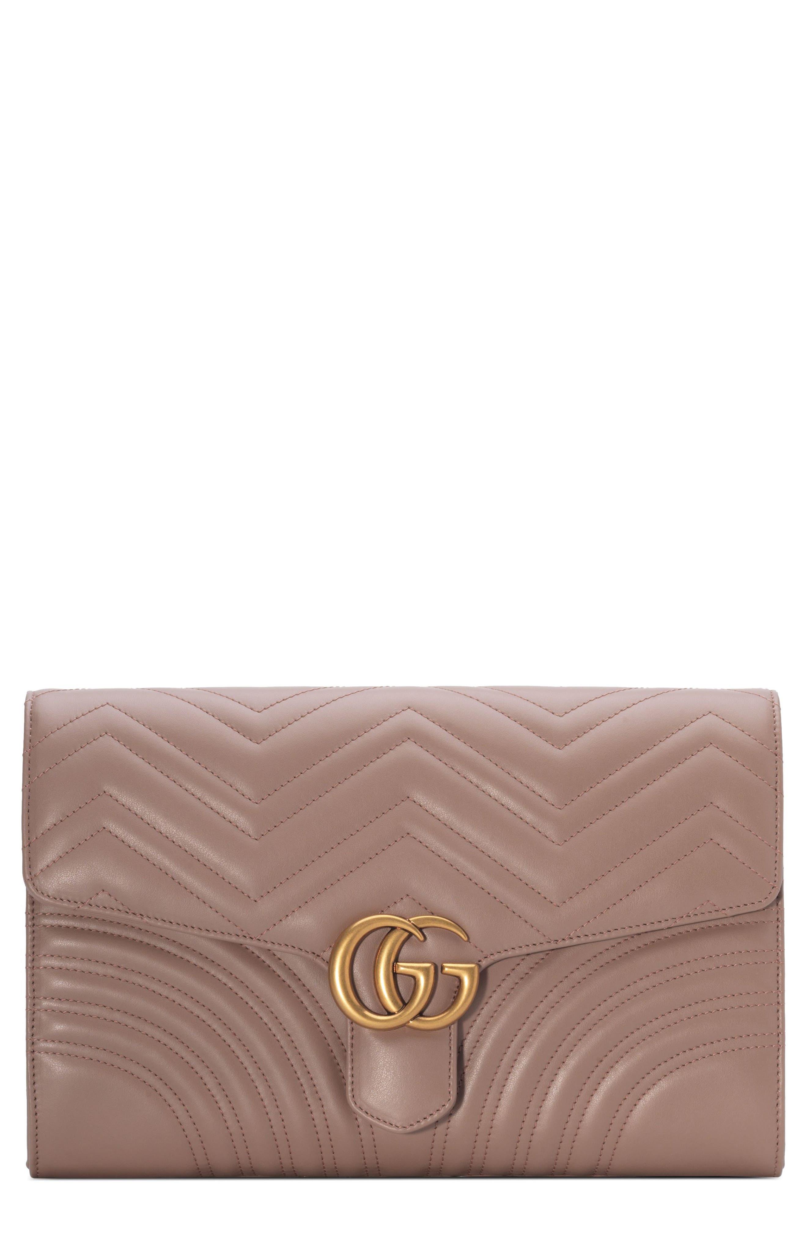 GG Marmont 2.0 Matelassé Leather Clutch,                             Main thumbnail 3, color,