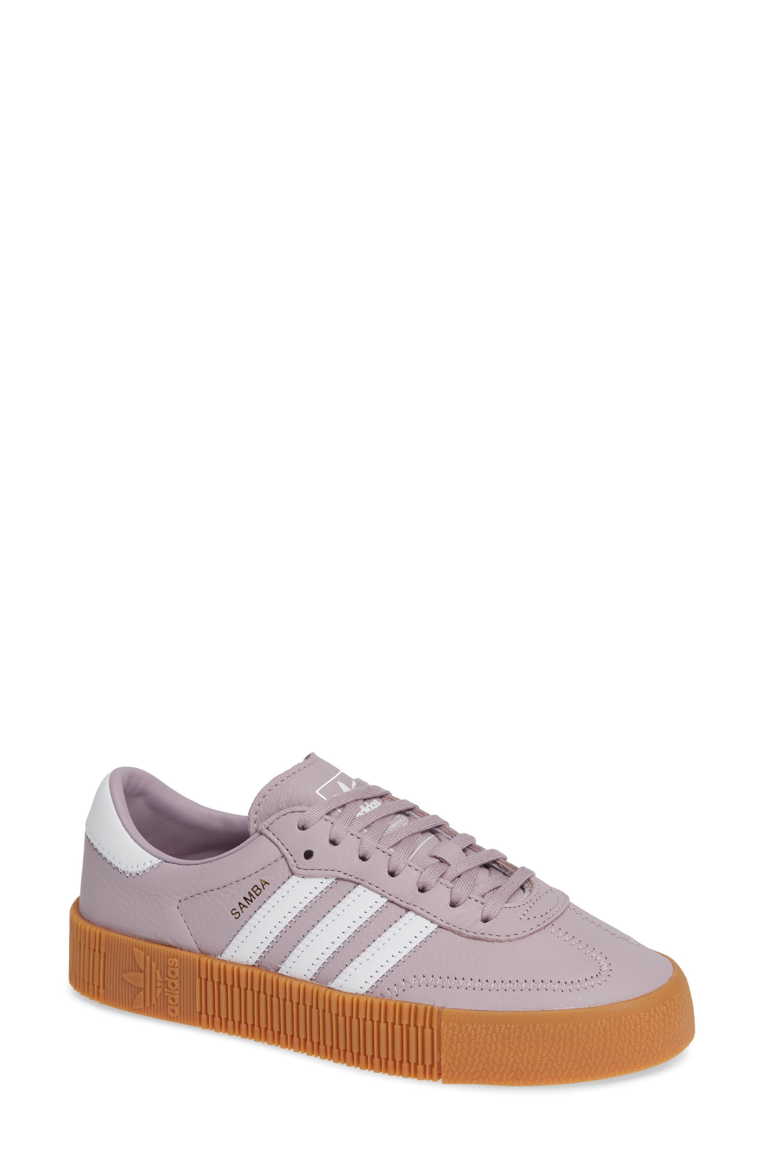 ADIDAS,                             Samba Rose Sneaker,                             Main thumbnail 1, color,                             SOFT VISION/ WHITE/ GUM