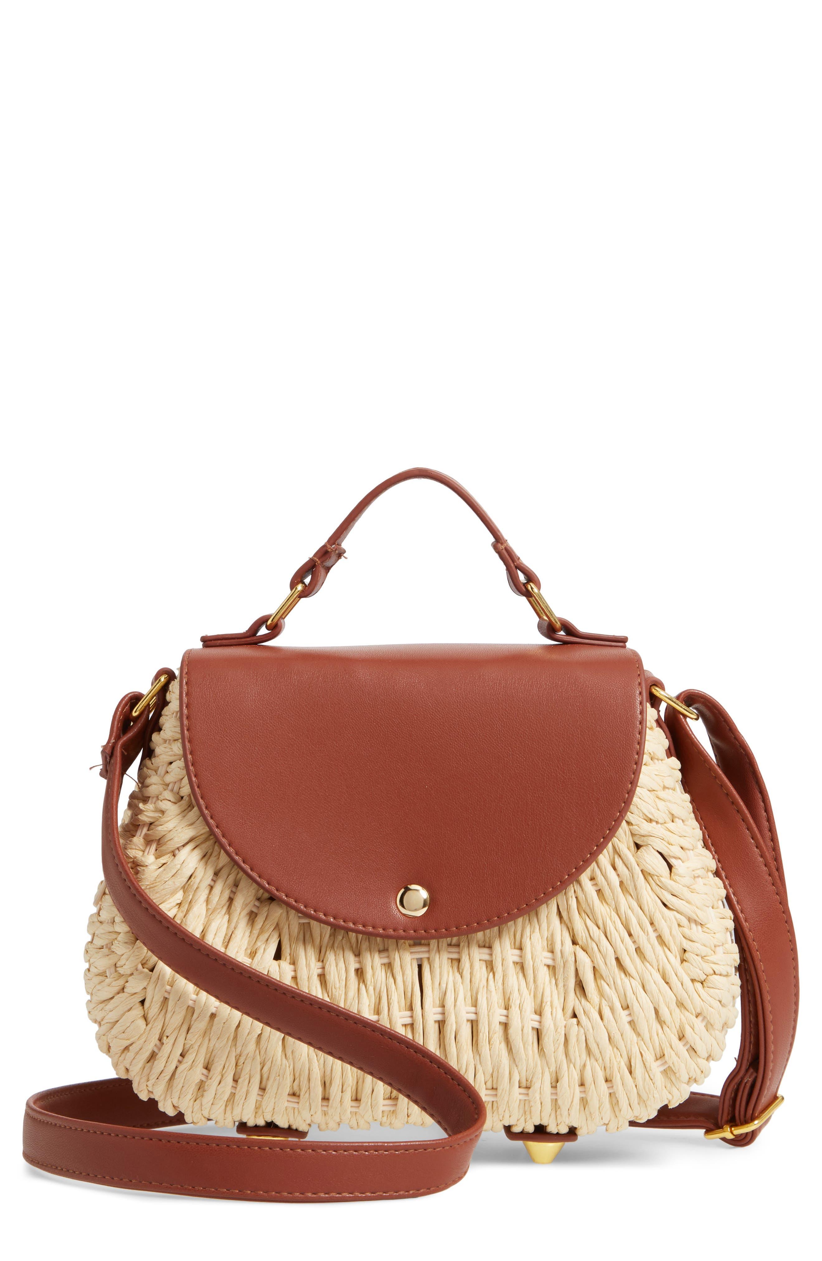 Faux Leather Trim Straw Saddle Bag,                             Main thumbnail 1, color,                             NATURAL/ COGNAC